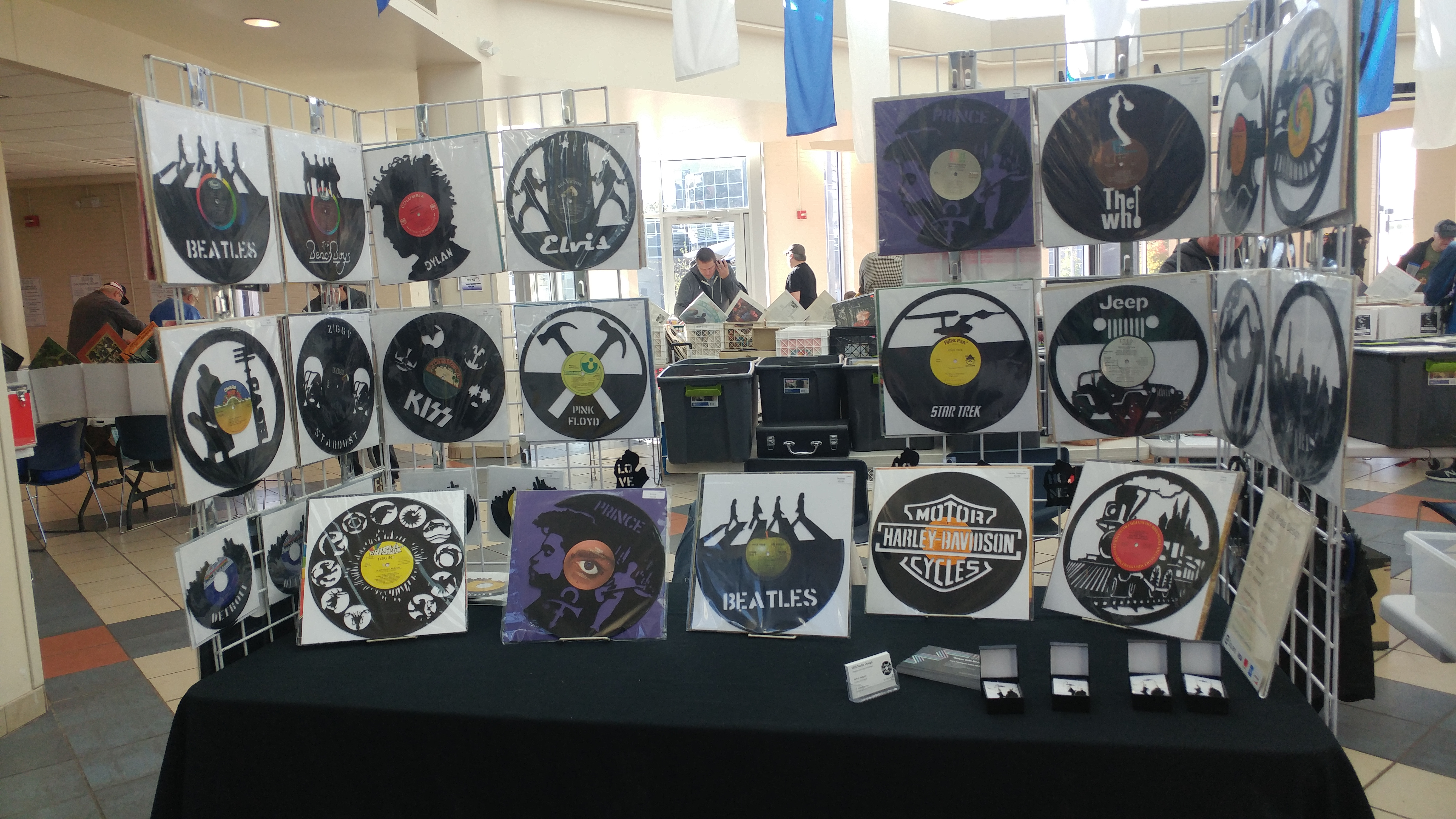 Photo shows a vendor booth selling vinyl records