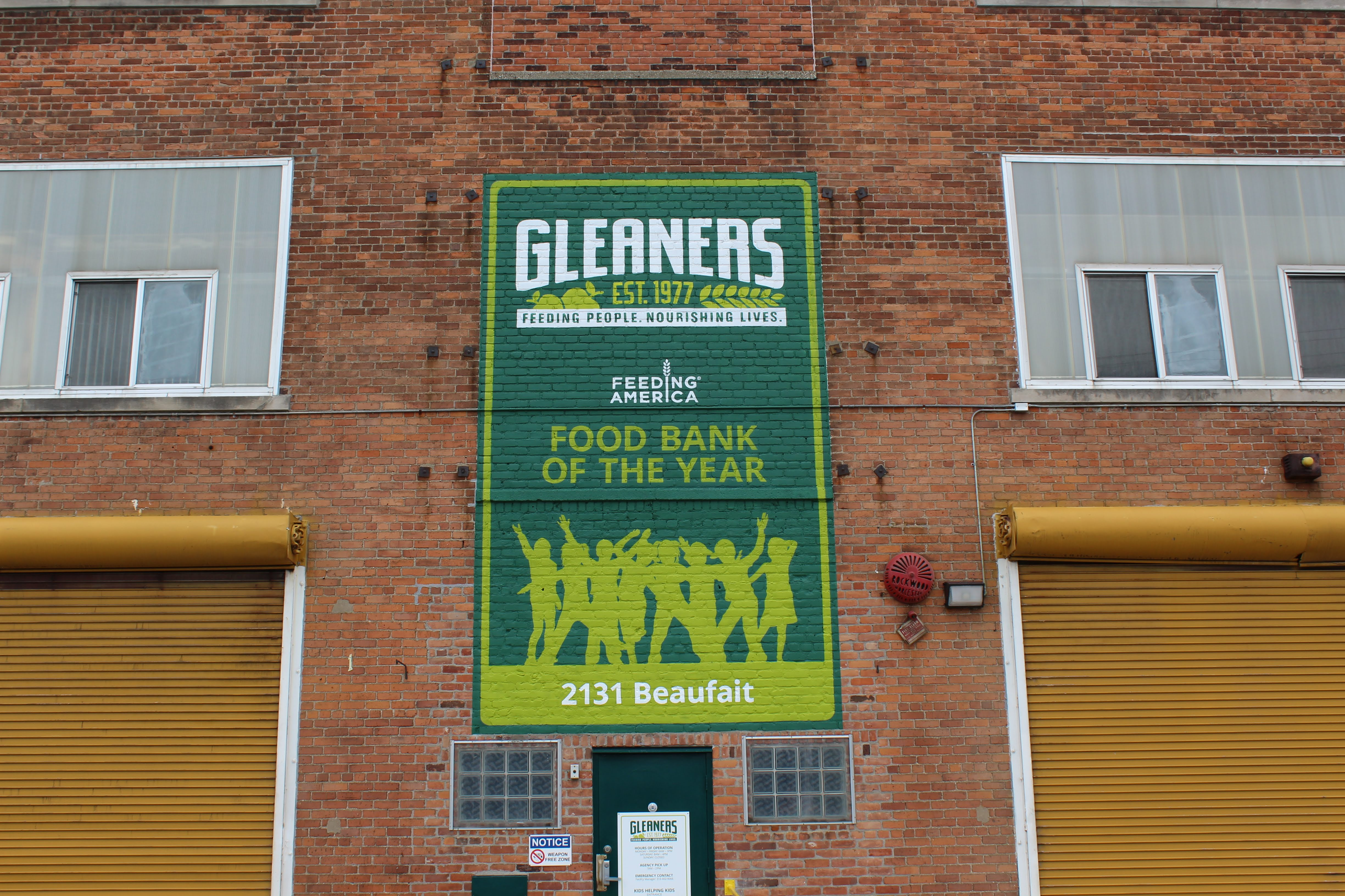 "Gleaners sign which reads ""2019 Food Back of the Year"""