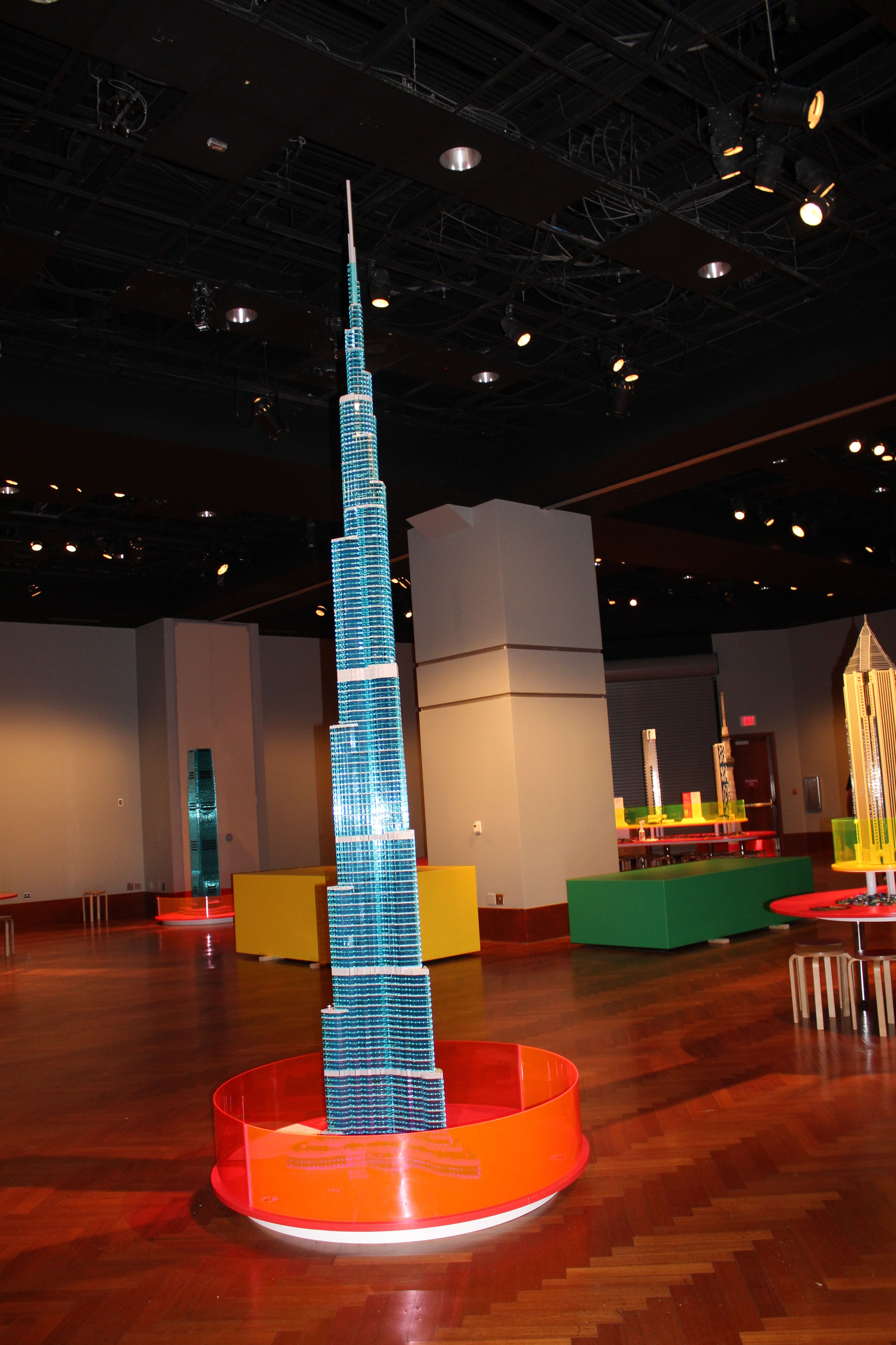 Photo shows a lego replica of the Burj Khalifa