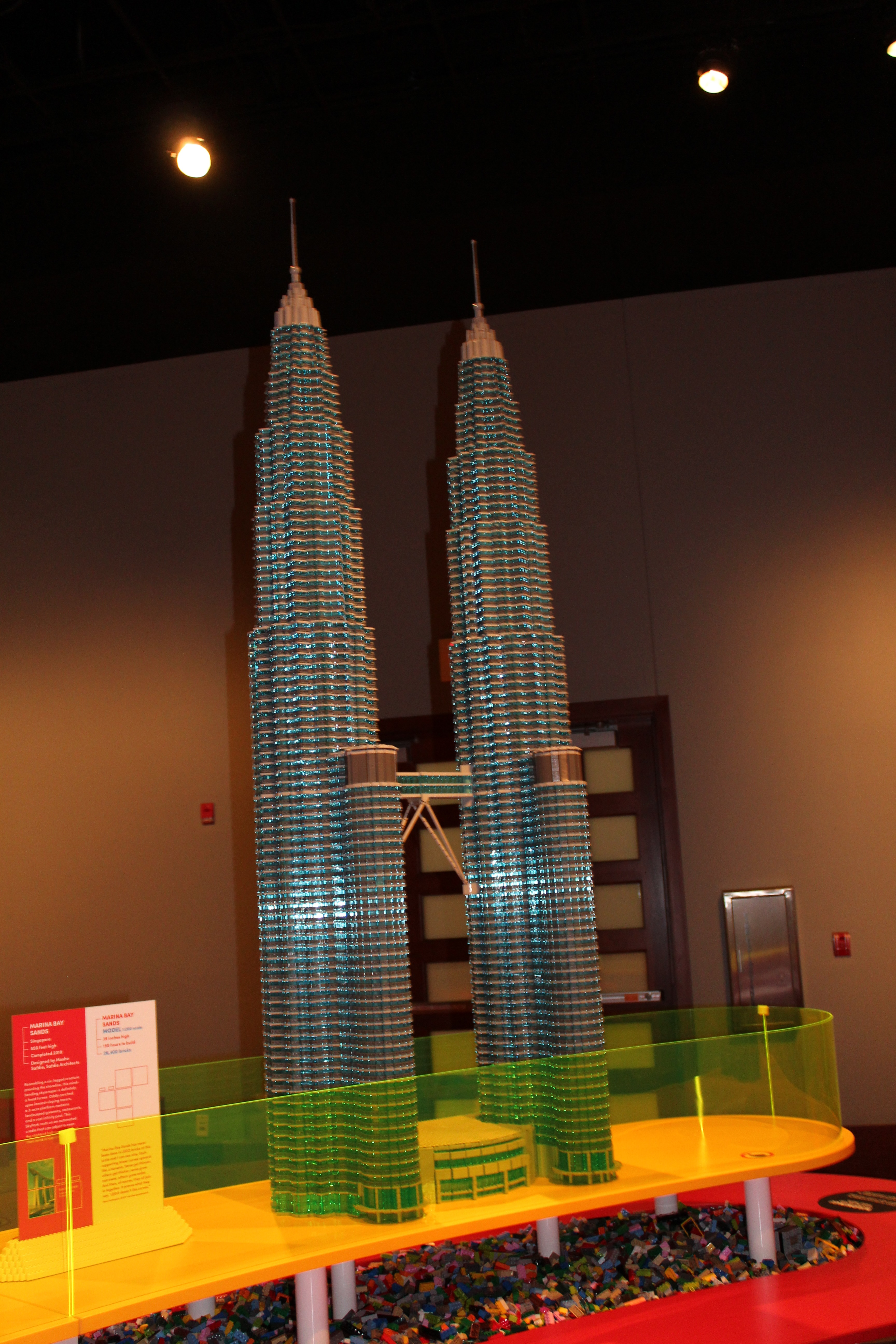 Photo shows a lego replica of the Pertonas Twin Towers