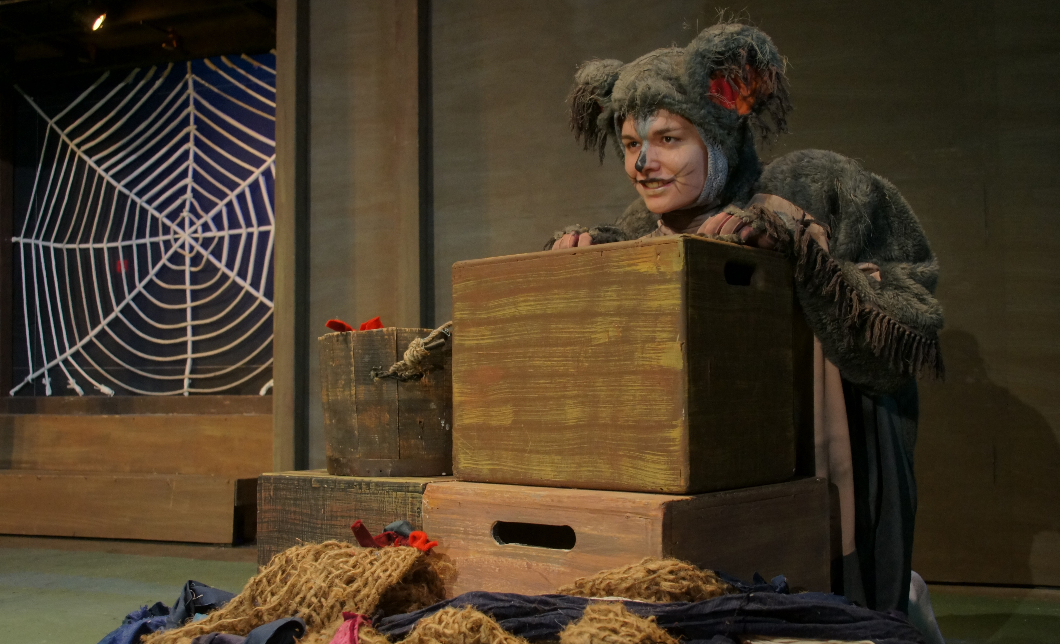Photo of actor in Templeton costume on stage prop in front of large web.