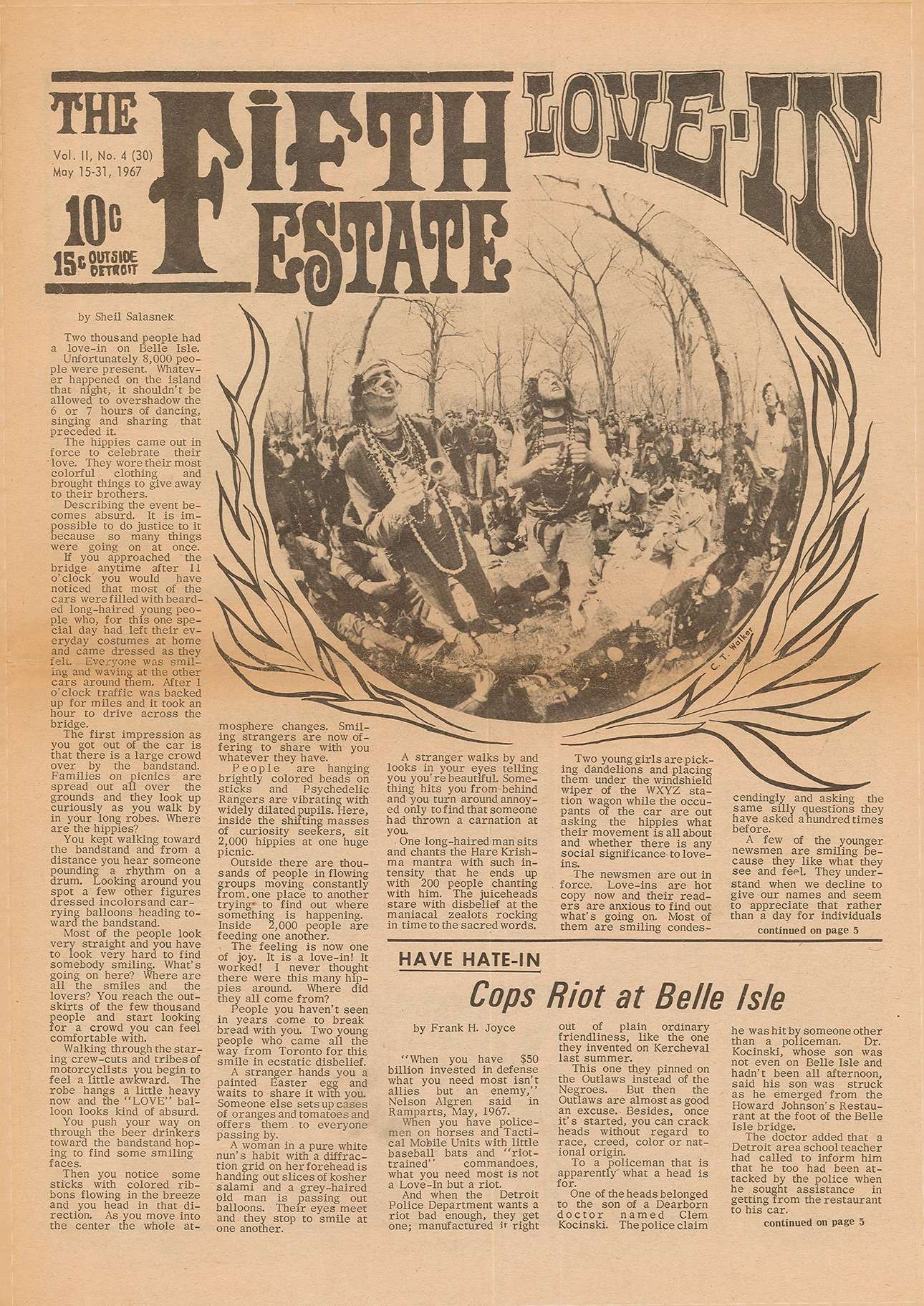 "Original front page of ""The Fifth Estate"" date May 15-31, 1967, and headline reads ""Cops Riot at Belle Isle."""