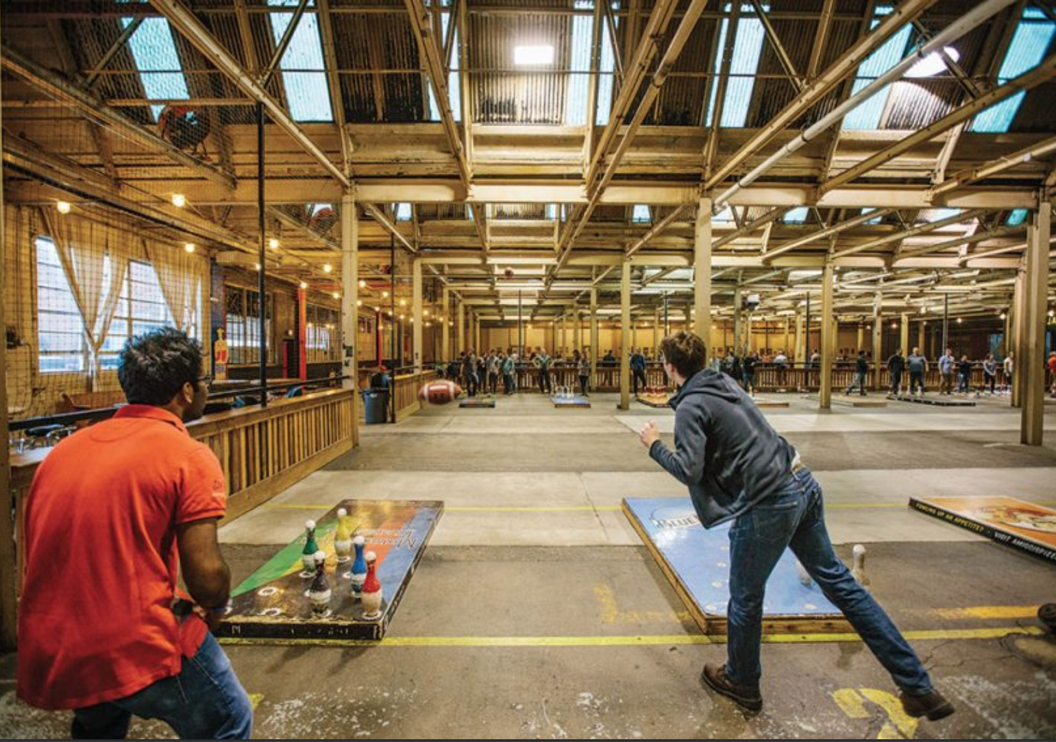 Image of people fowling at the Fowling Warehouse