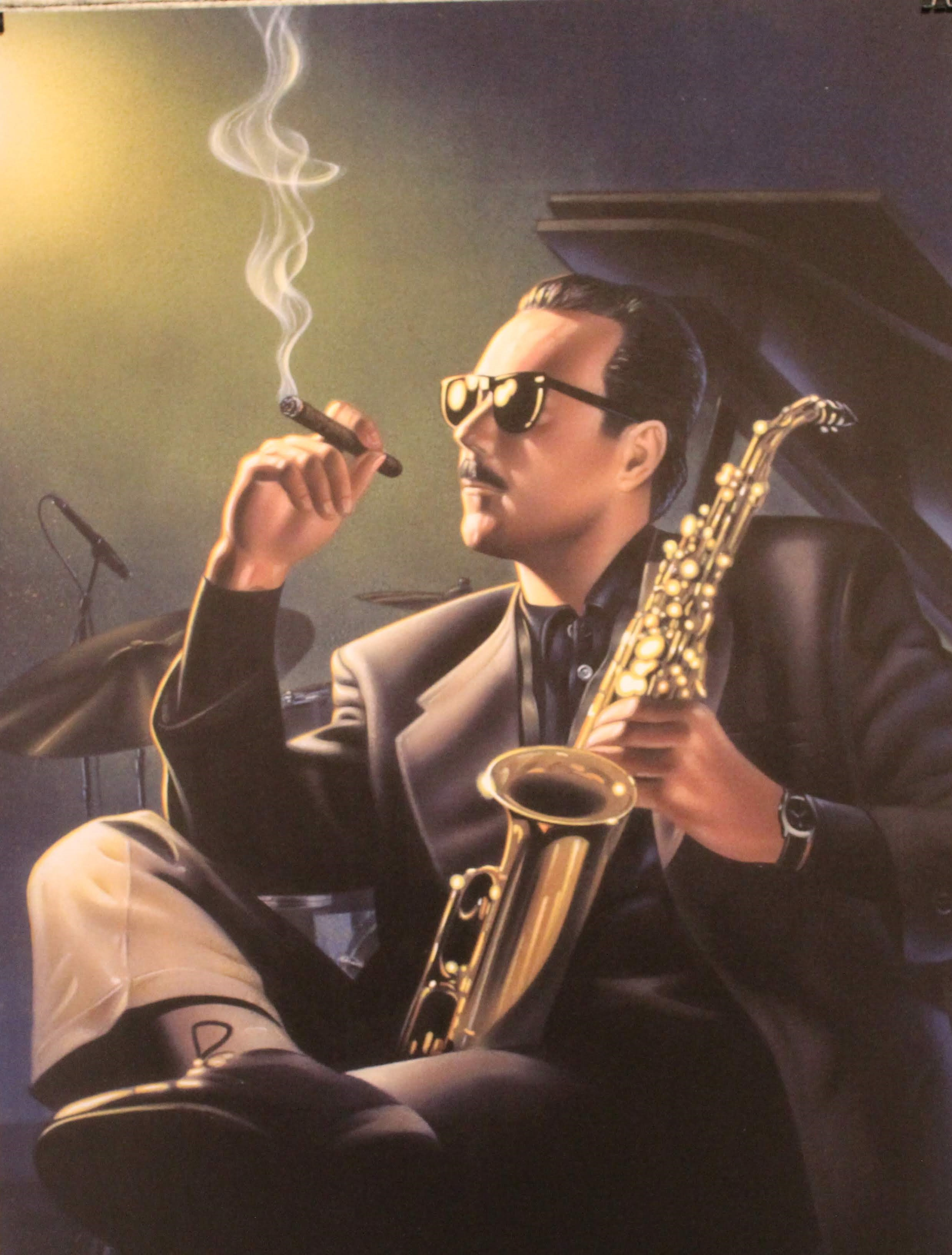Image of a magazine ad featuring a man holding a saxophone and smoking