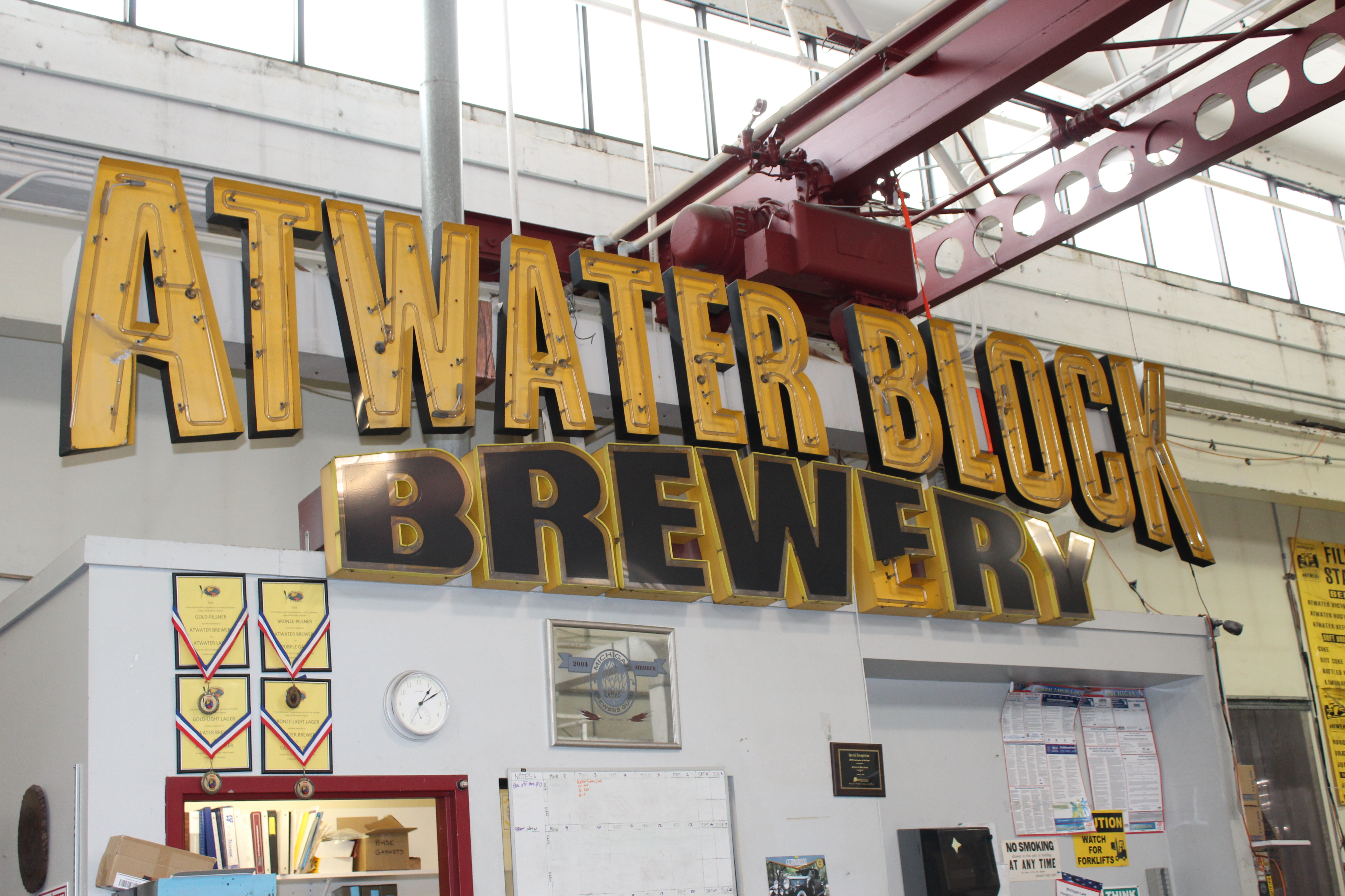 "Photo of Atwater Brewery original sign, which reads ""Atwater Block Brewery."""