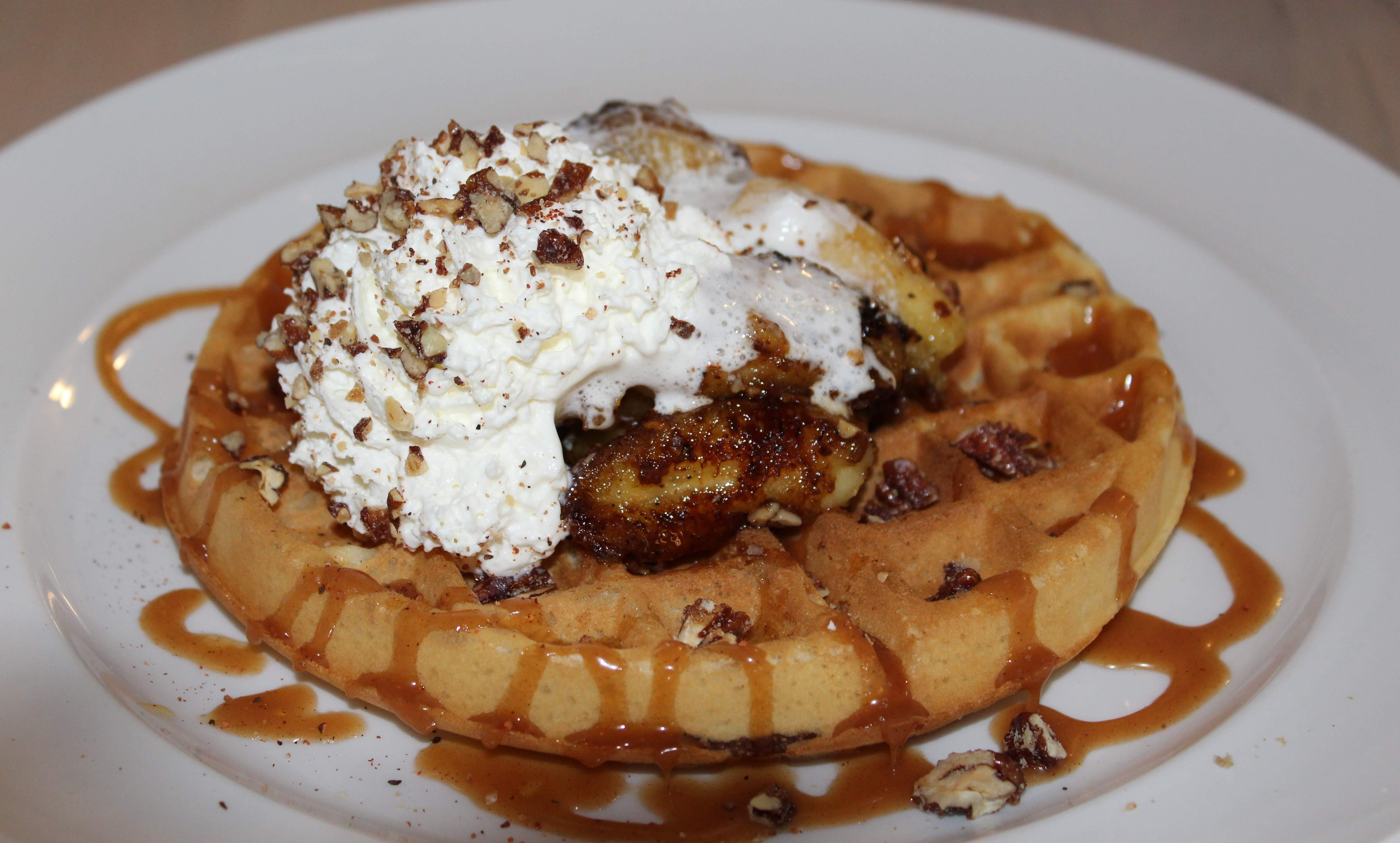 Photo of banana waffles from Lucky's Noble BBQ