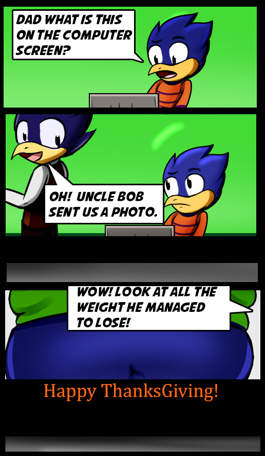 "Panel 1: Lil's Hawkster's son asks, ""What's this on the computer screen?"" He looks at a computer. Panel 2: Lil' Hawkster replies, ""Oh! Uncle Bob sent us a photo!"" Panel 3: The photo from the computer monitor is shown, the chubby midsection of Bob Hawkster. Lil' Hawkster's son comments, ""Wow! Look at all the weight he managed to lose!"""
