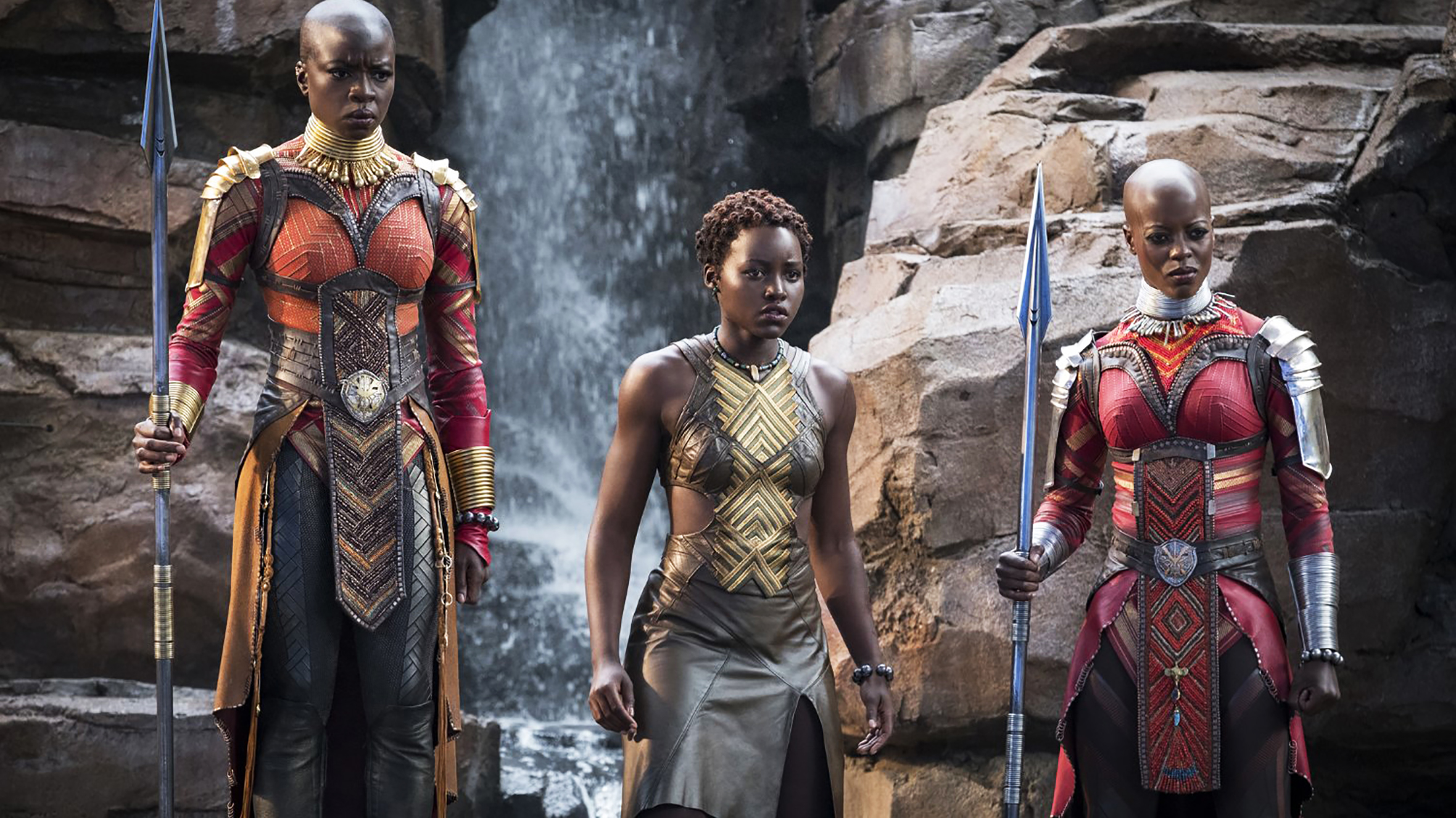 Image from Black Panther movie featuring from the left Danai Gurira, Lupita Nyong'o, and  Marija-Juliette-Abney