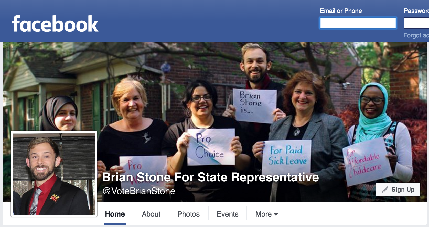 Screenshot of Brian Stone for State Representative Facebook page