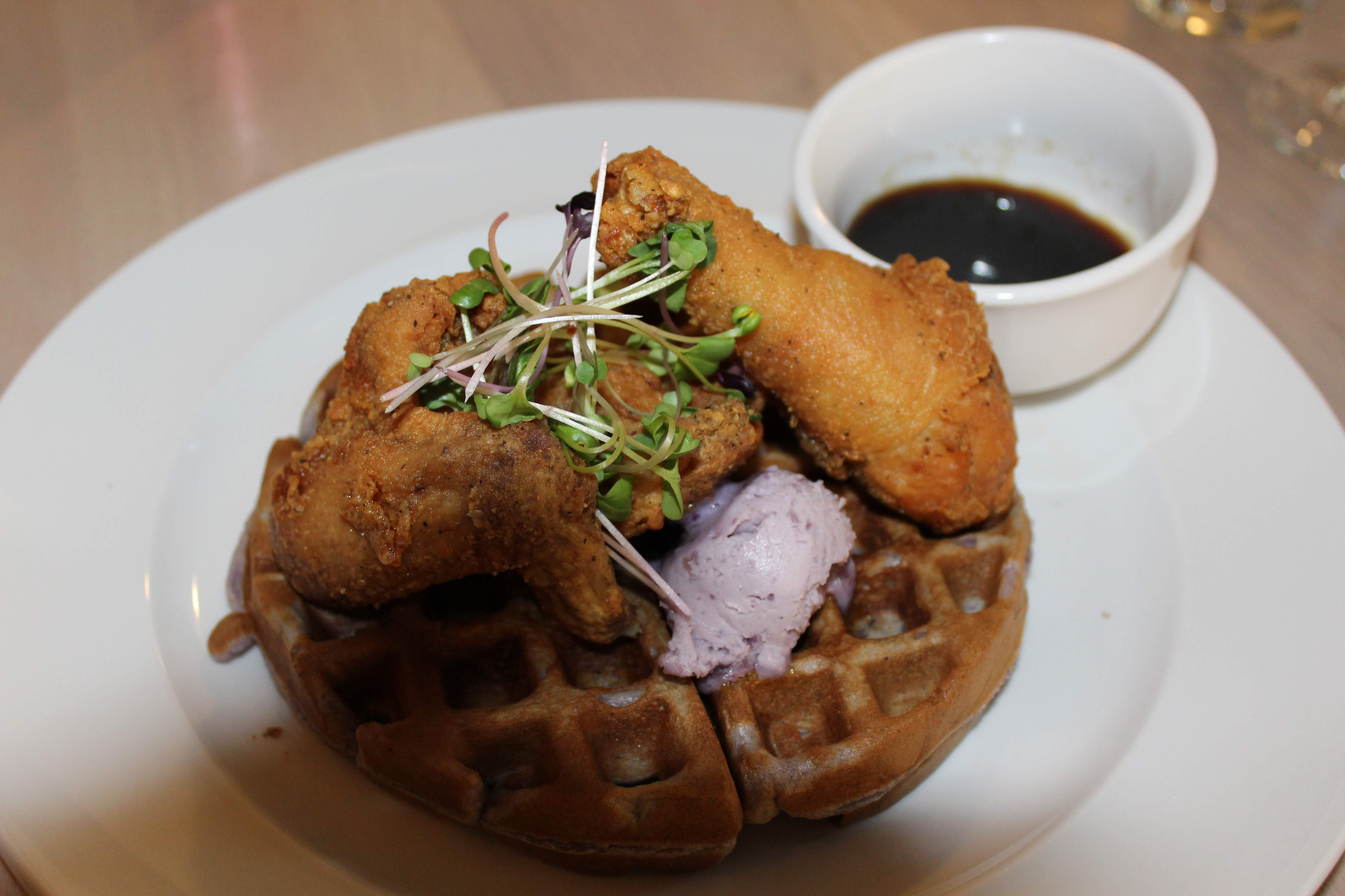 Photo of chicken and waffles from Isla