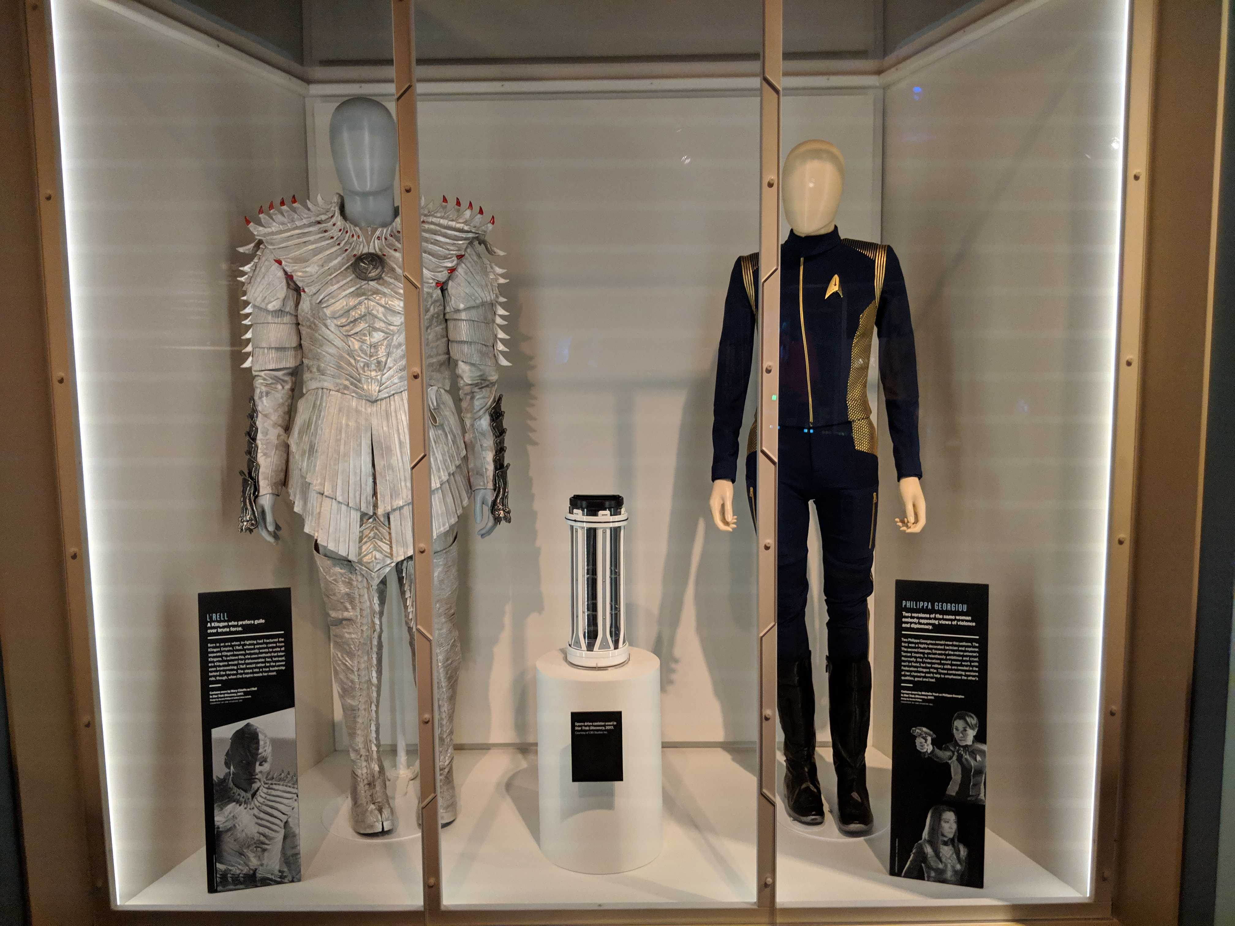 Photo of costumes for L'Rell and Philippa Georgiou