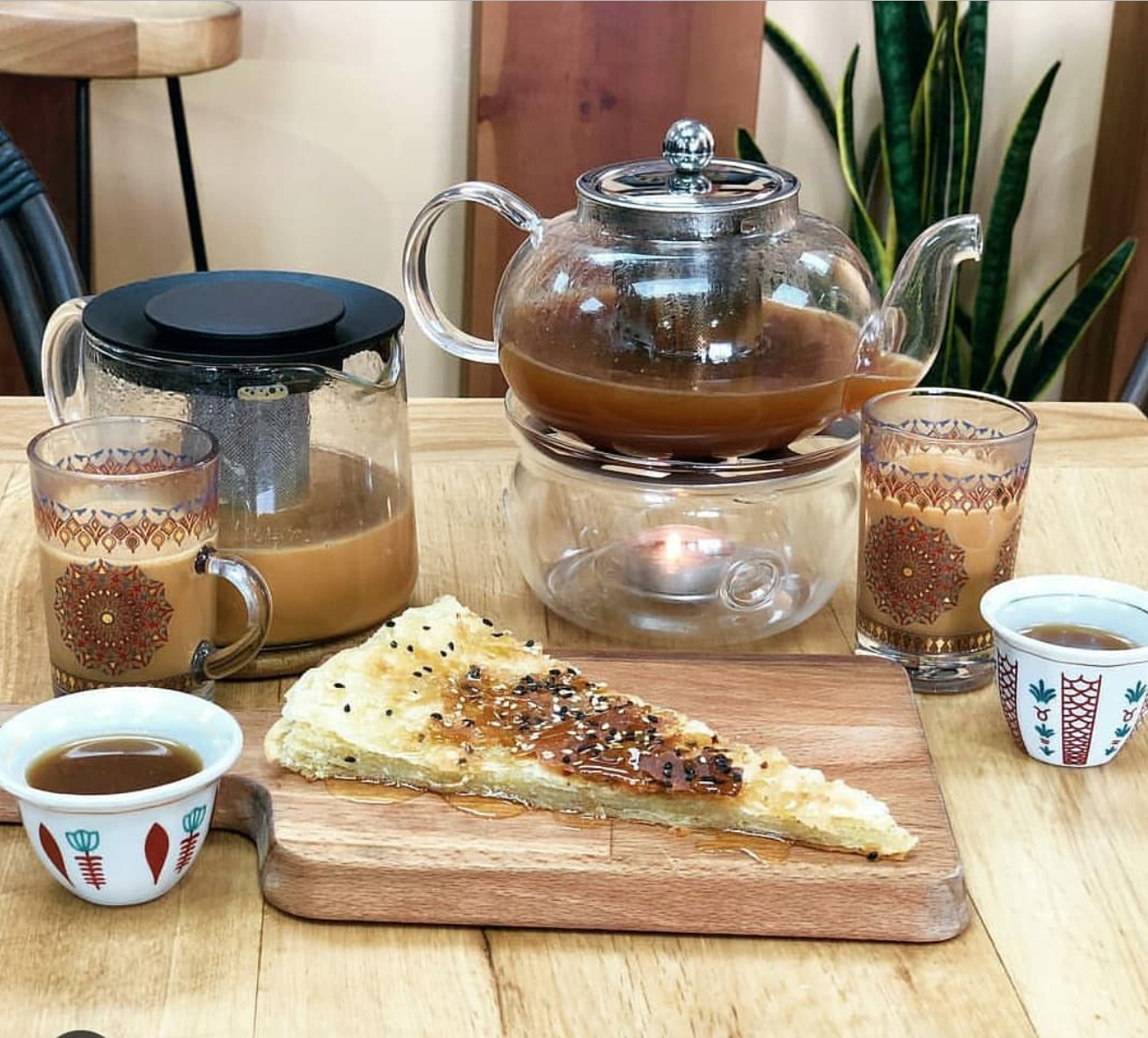 Photo of coffee and pastries from Qahwah House