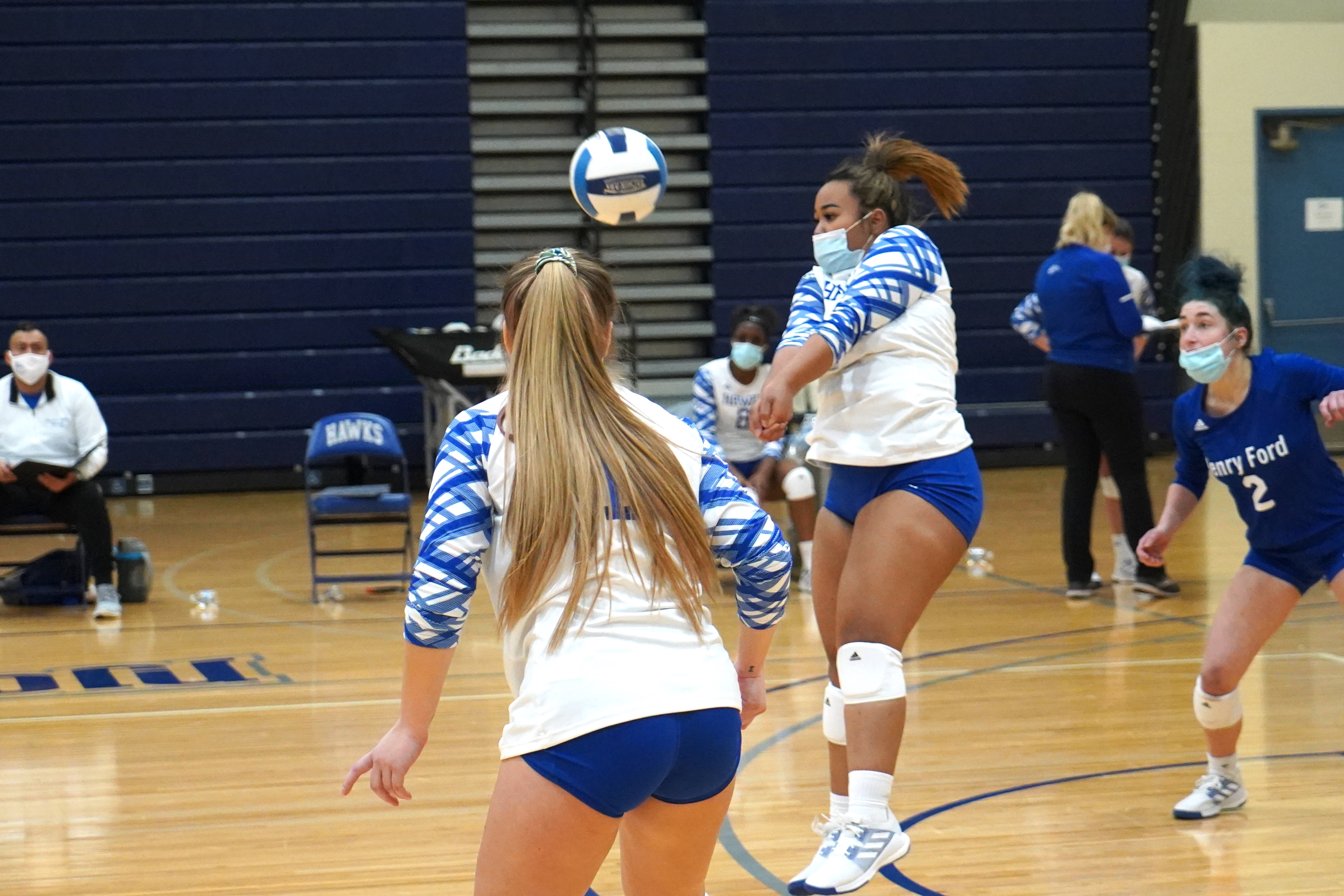 Camille Brown passes the ball.