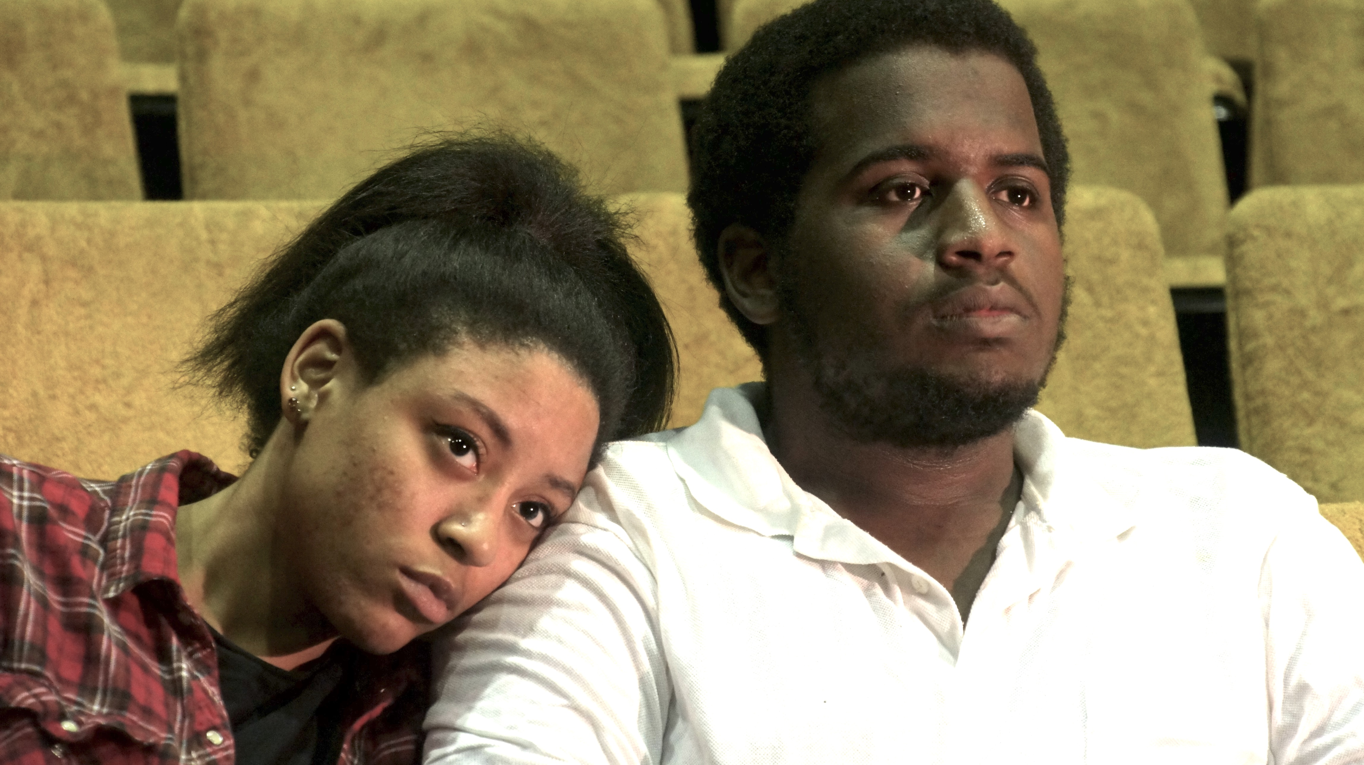 "Photo of ""The Flick"" cast members: Sasha Johnson as Rose and Corey Travis as Avery"