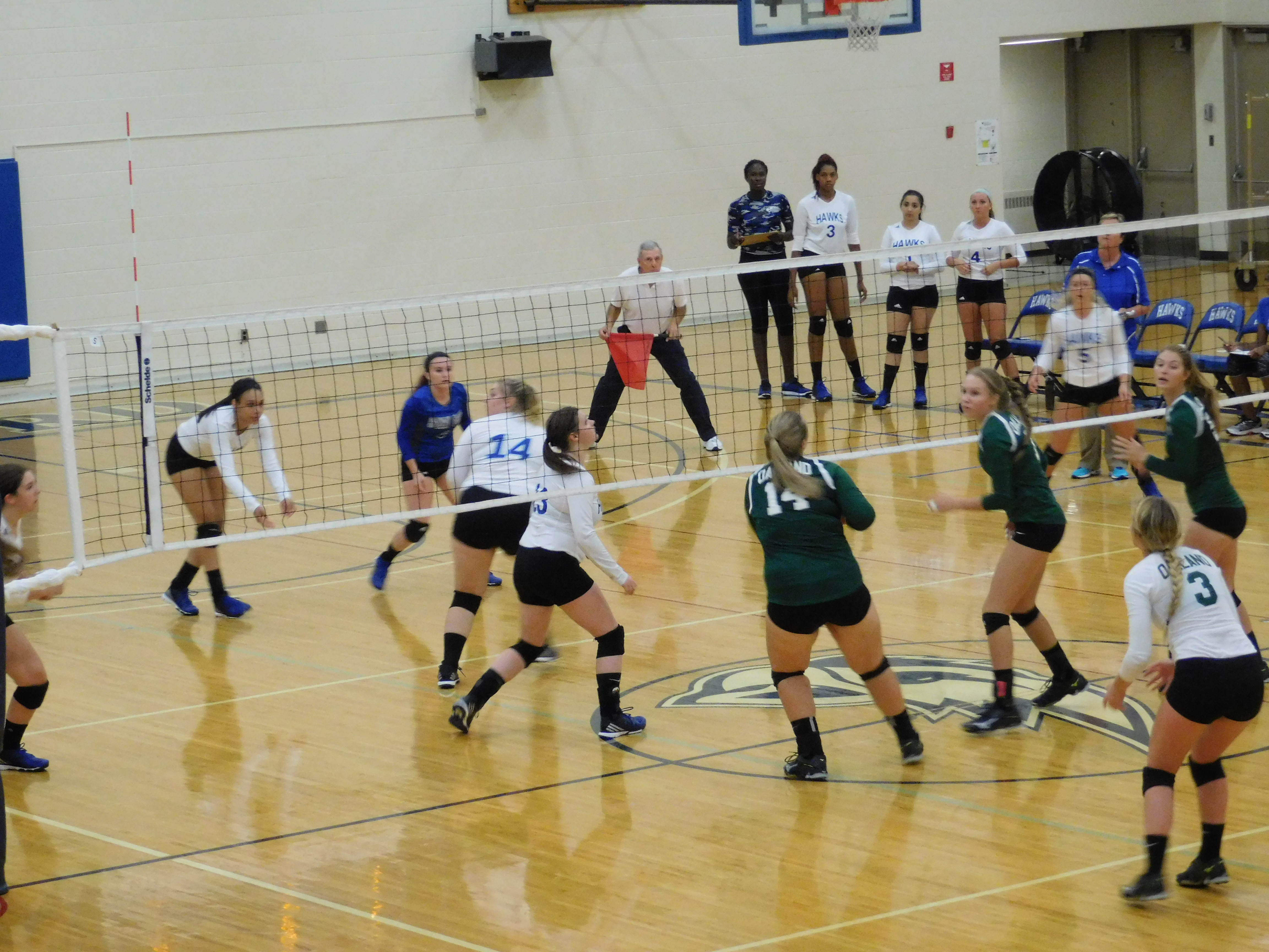 Hawks girls volleyball team scrambling to get the ball.
