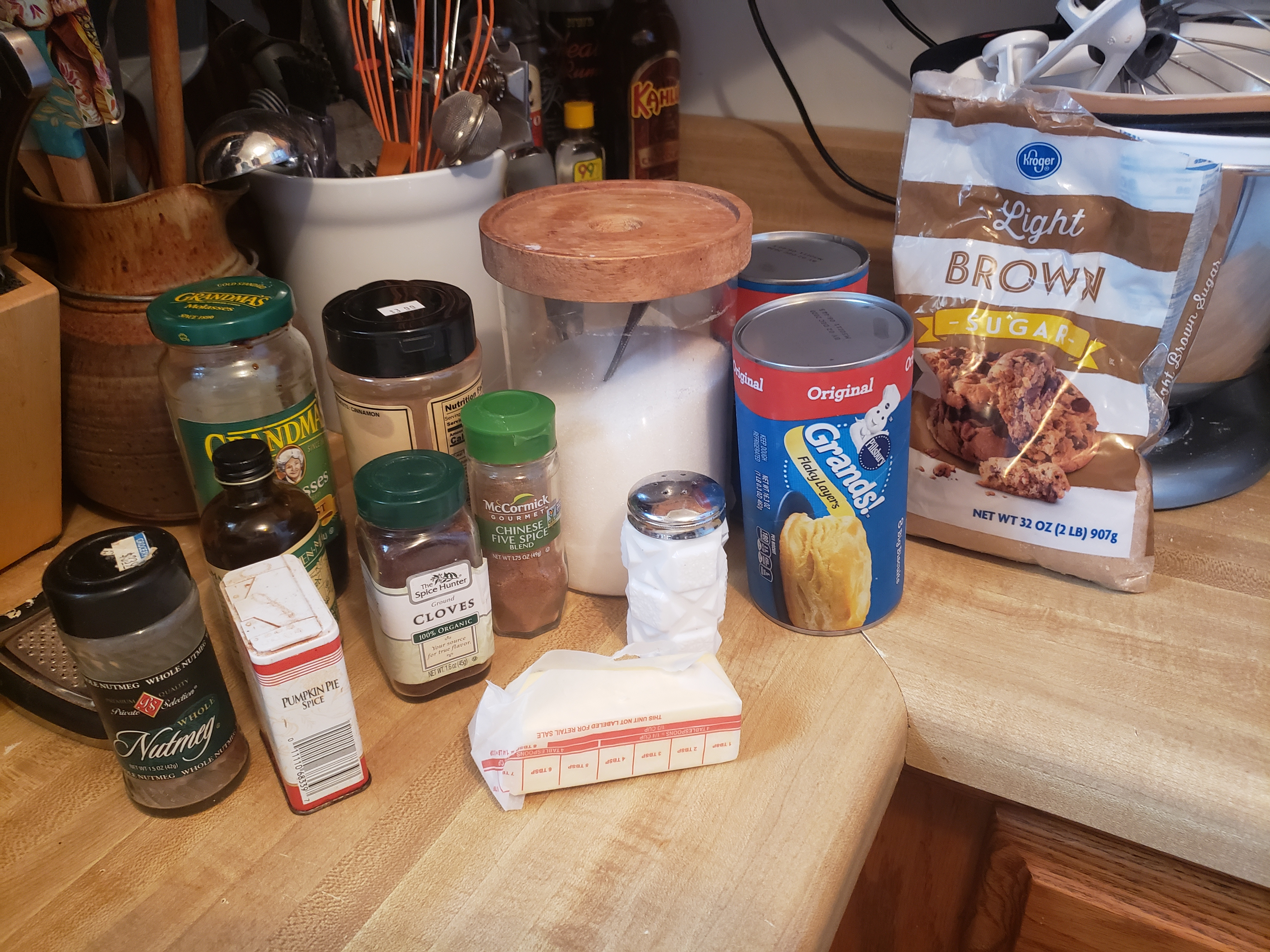 Photo of household ingredients to make Monkey bread