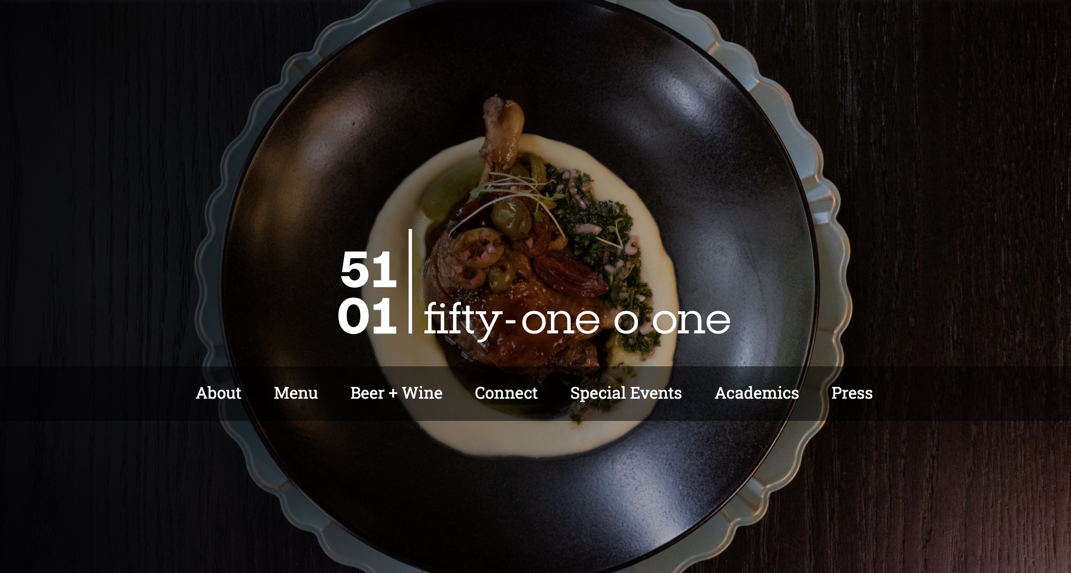 Image of Fifty-One O One's website menu