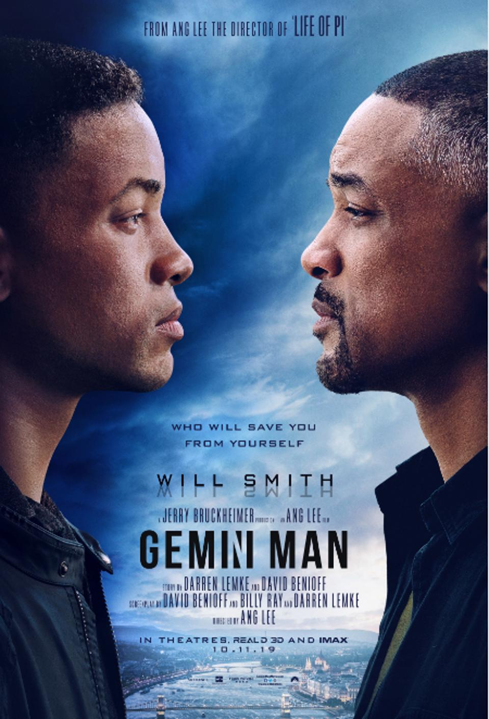 "Image of poster for ""Gemini Man"" showing Will Smith staring at a younger version of himself"
