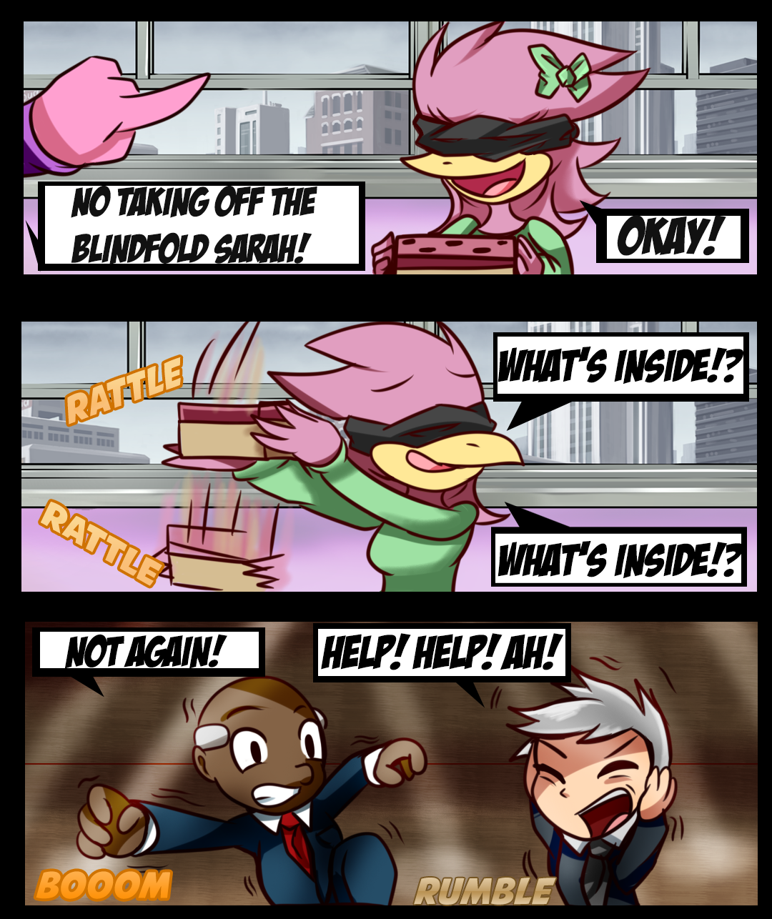 """Three-panel comic that is spoof of the movie """"Bird Box"""" using HFC's Hawkster"""