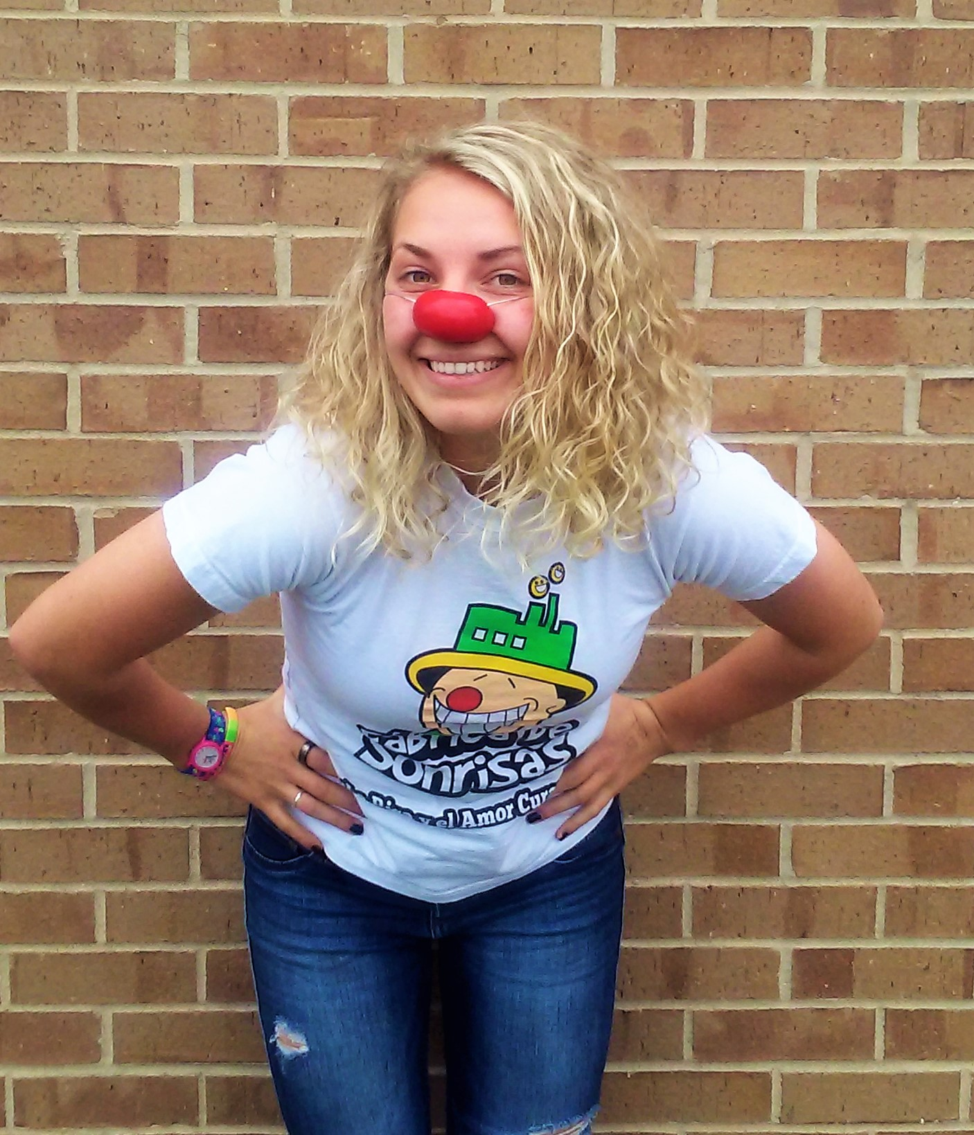 Anngiyln Dombrowksi wearing a red clown nose.