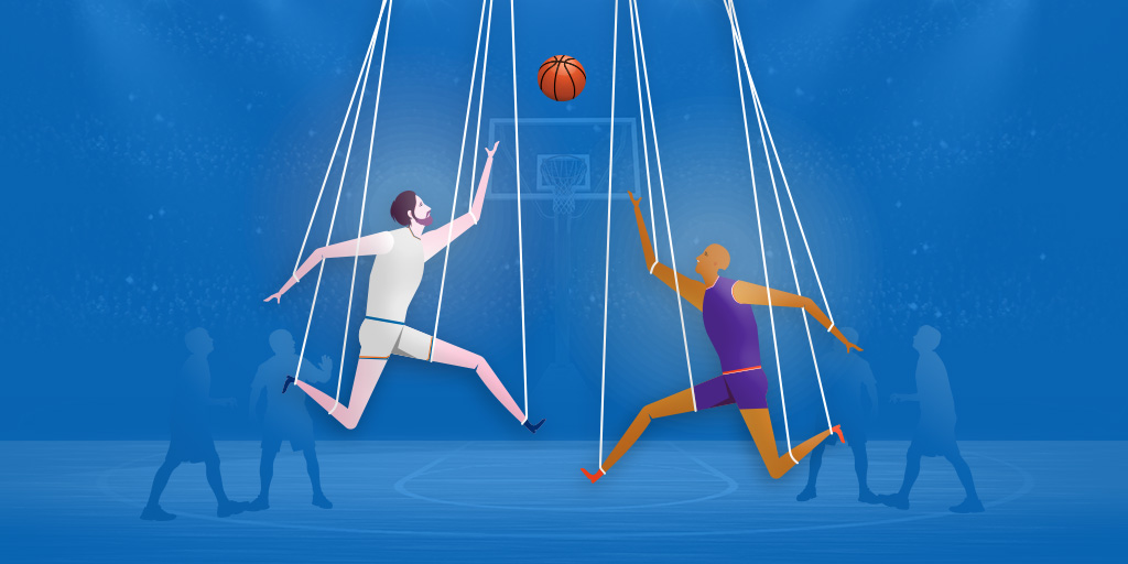 Graphic of two basketball players held up by strings like marionettes