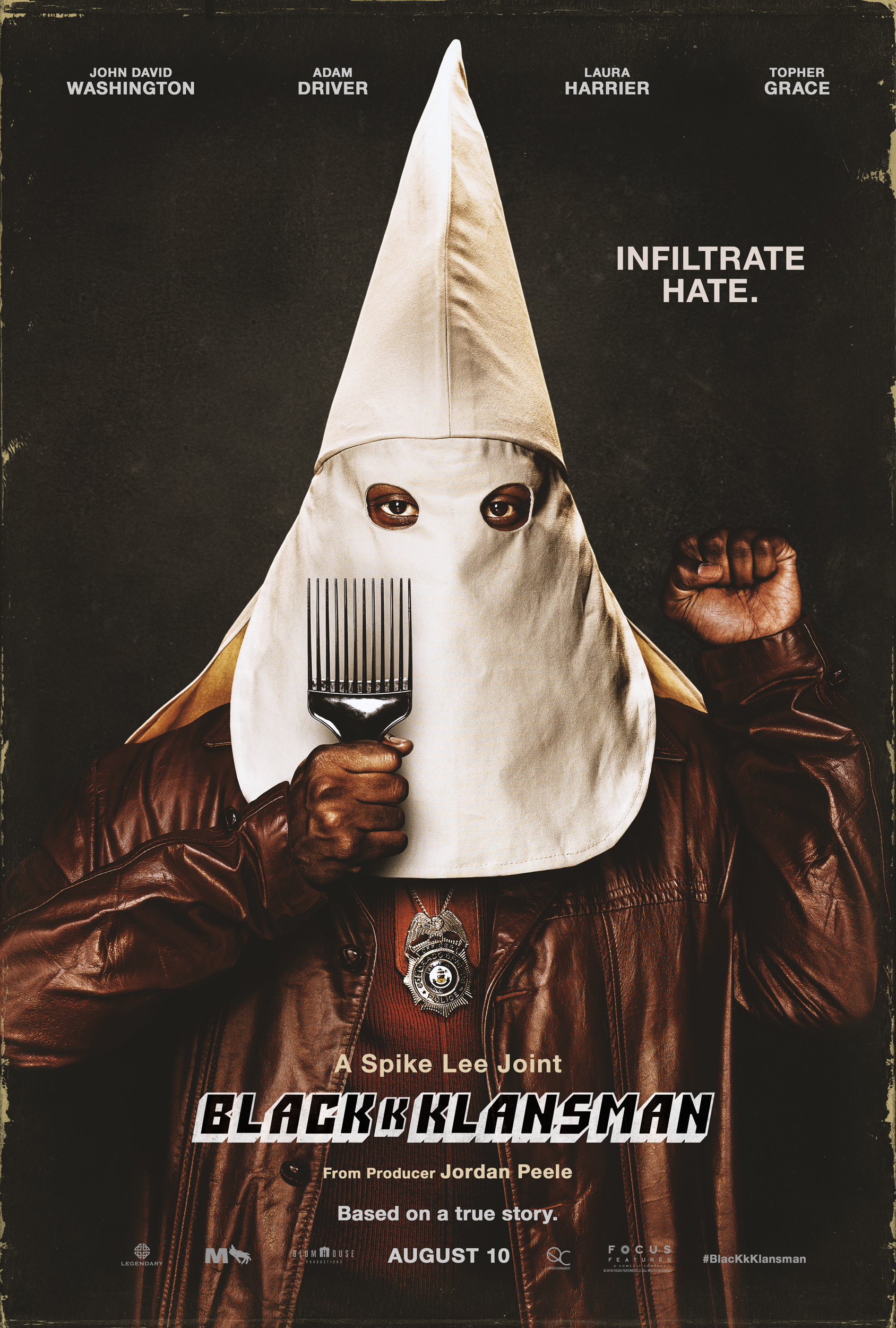 "A poster of Spike Lee's film, ""BlacKkKlansman."""