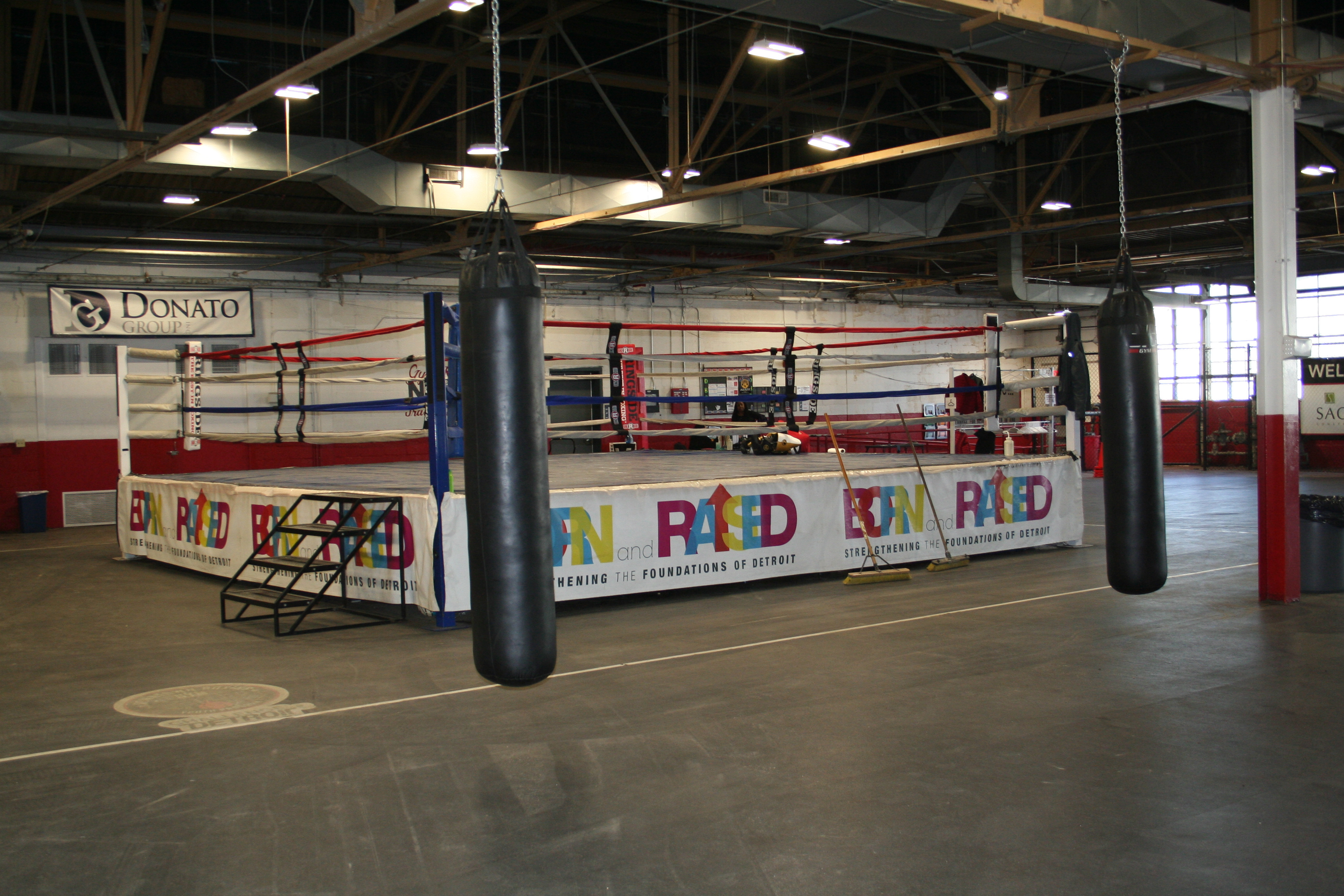 Photo of a boxing ring at Downtown Boxing Gym