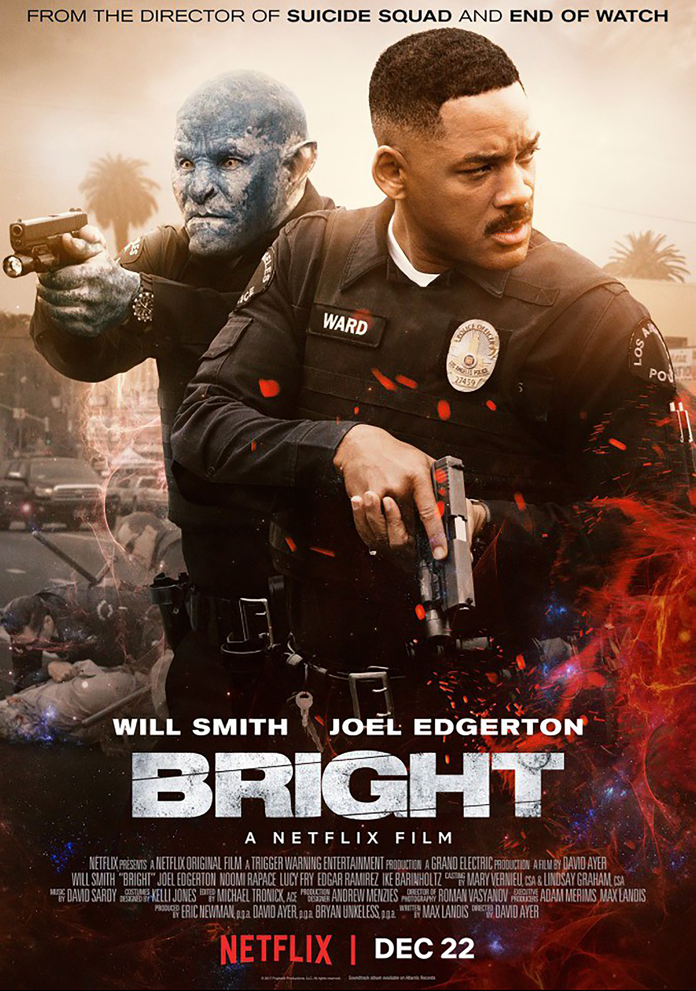 "The poster of the Netflix film ""Bright"" Featuring Will Smith and Joel Edgerton"