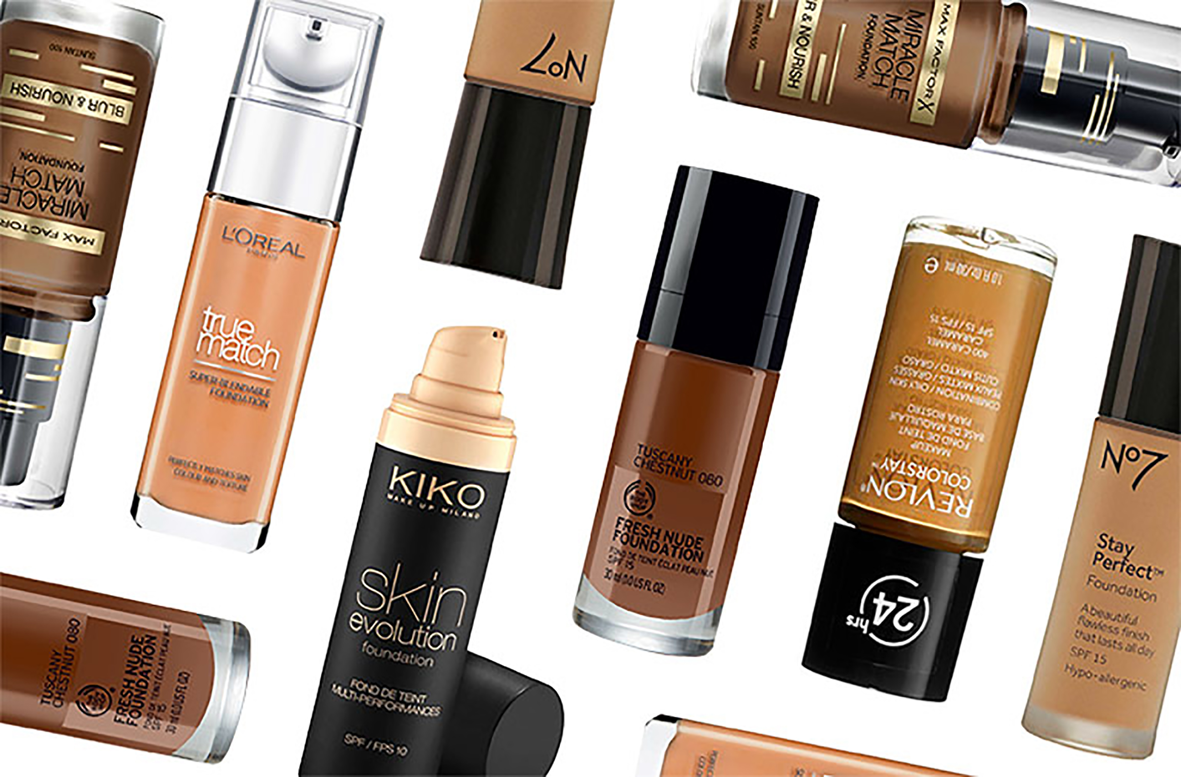 Picture of different make up foundation products from different brands