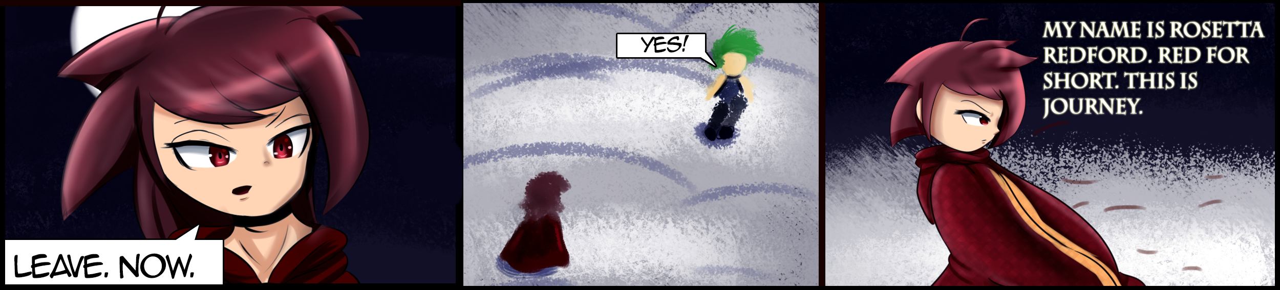 "Comic strip of girl in red cloak telling boy to ""leave now."""