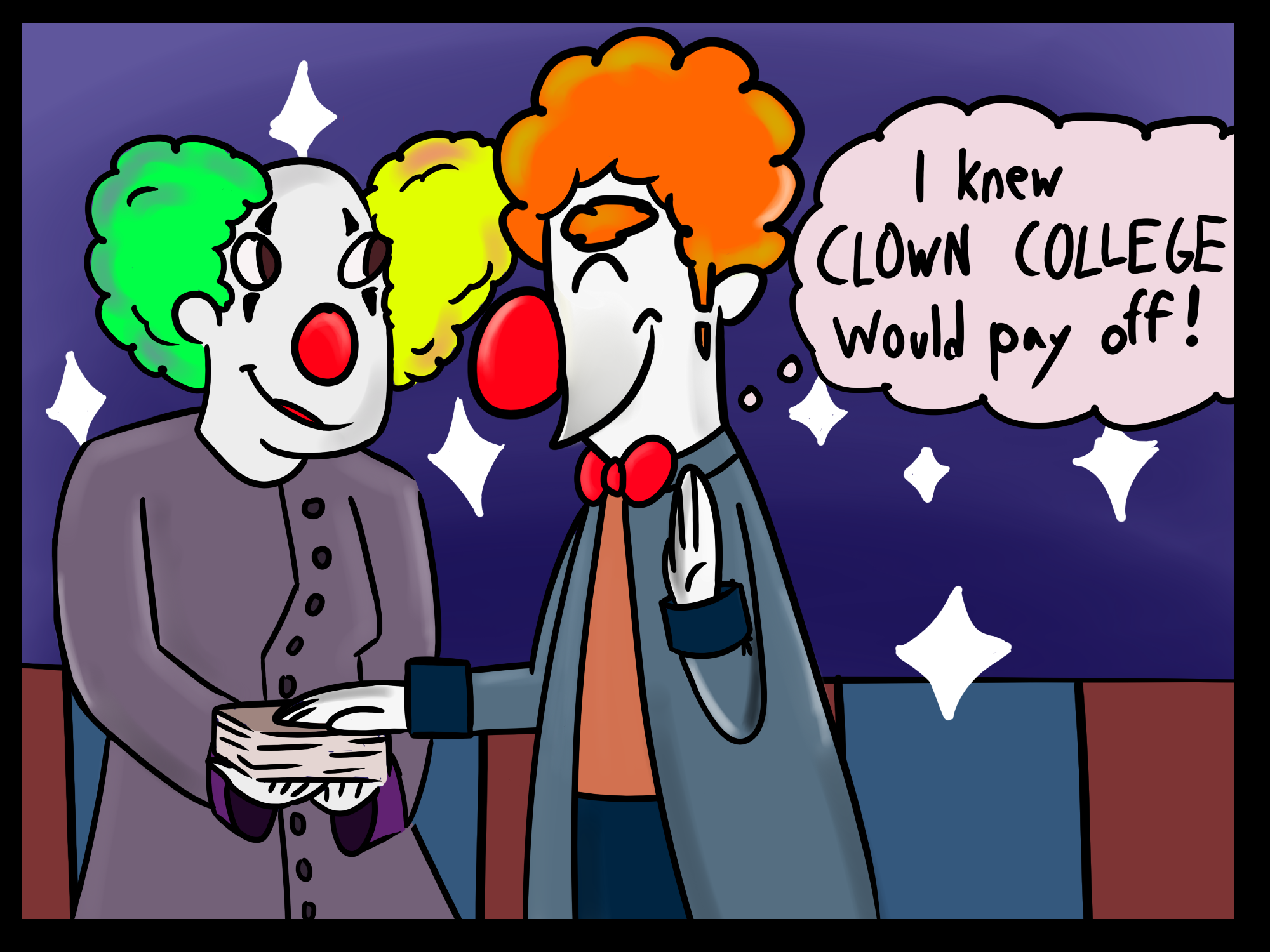 Comic of clowns graduating clown college.