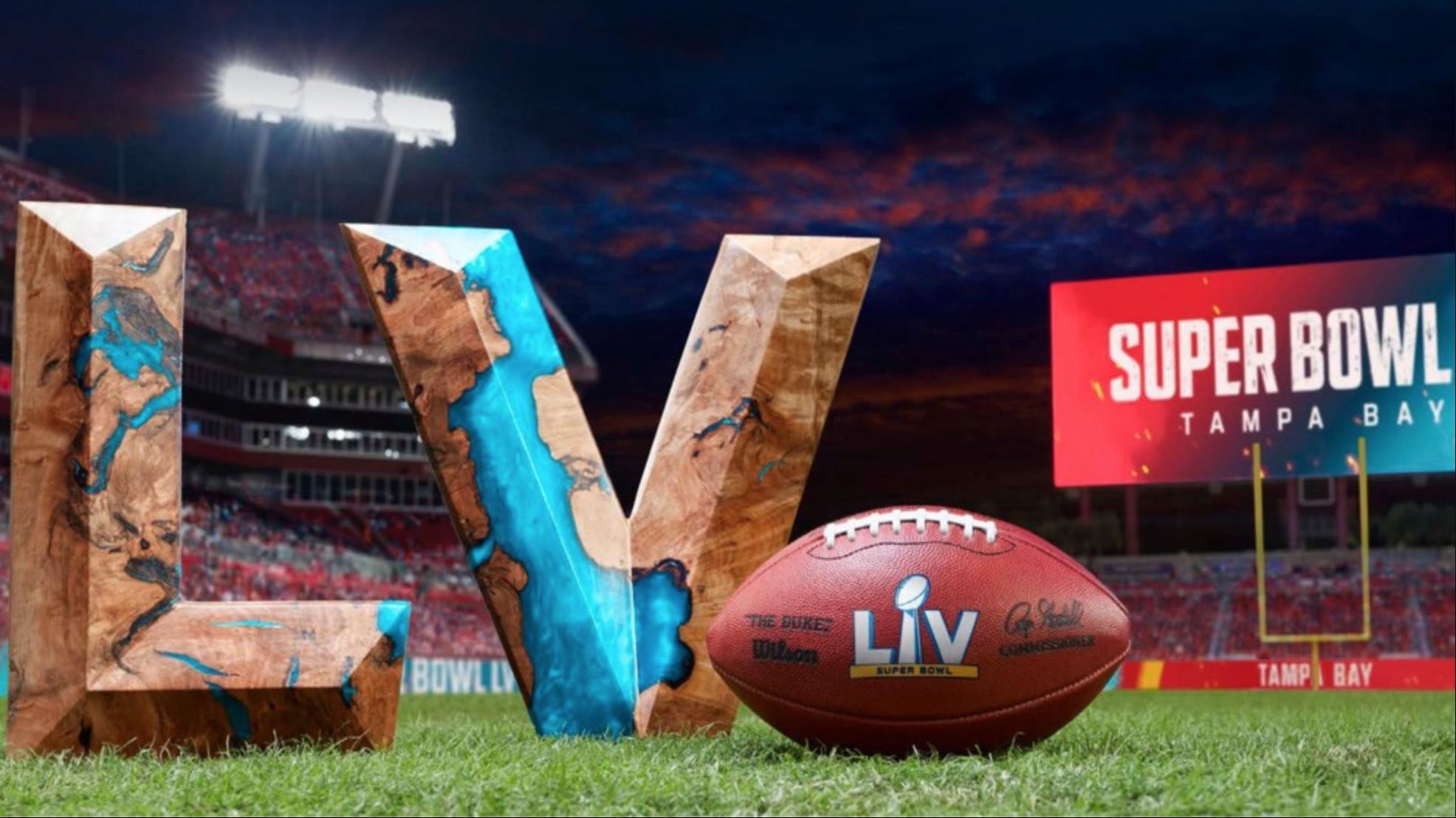 Graphic of Super Bowl LV courtesy NFLauction.com