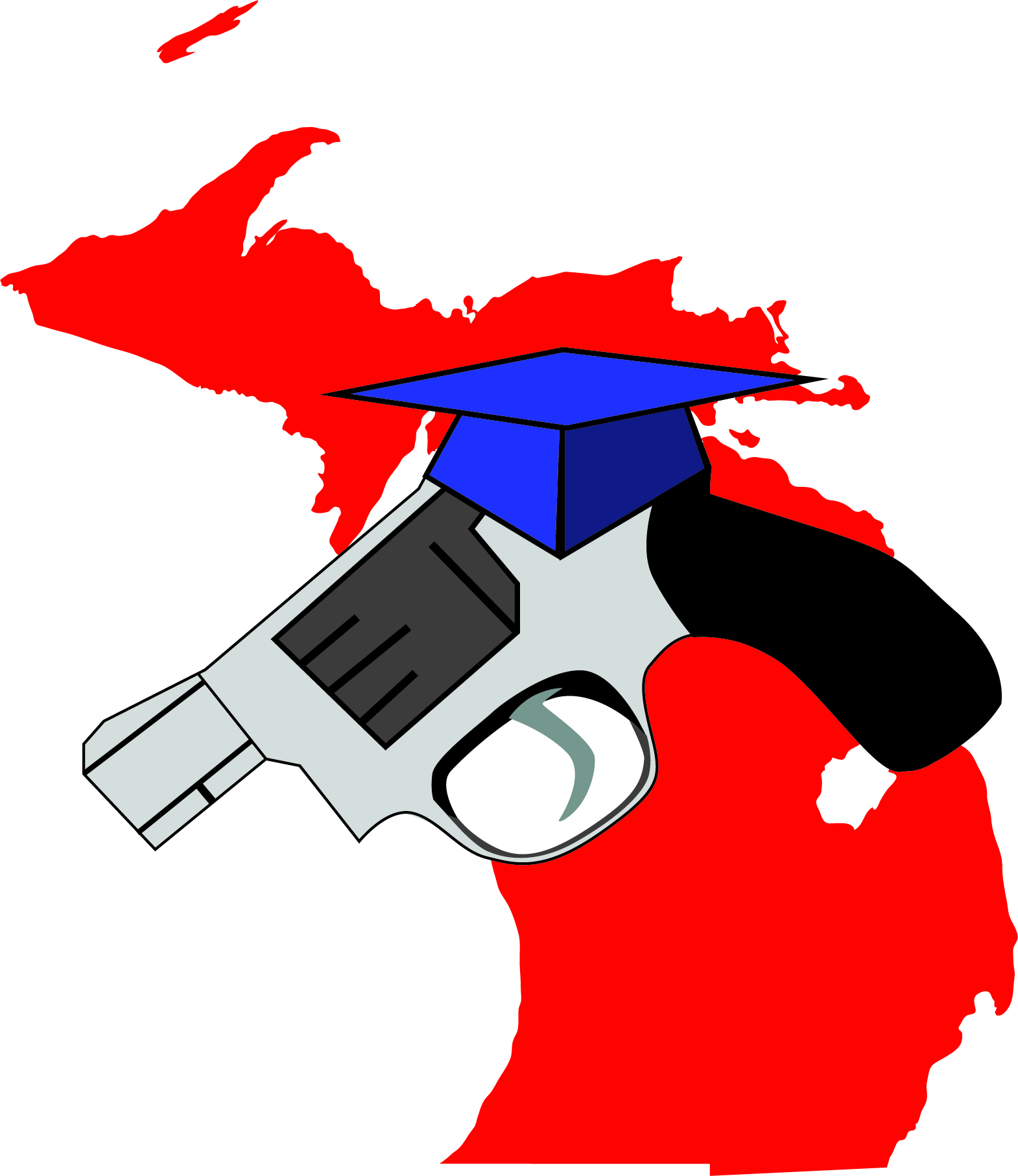 Michigan map in red with large handgun wearing a graduation cap.