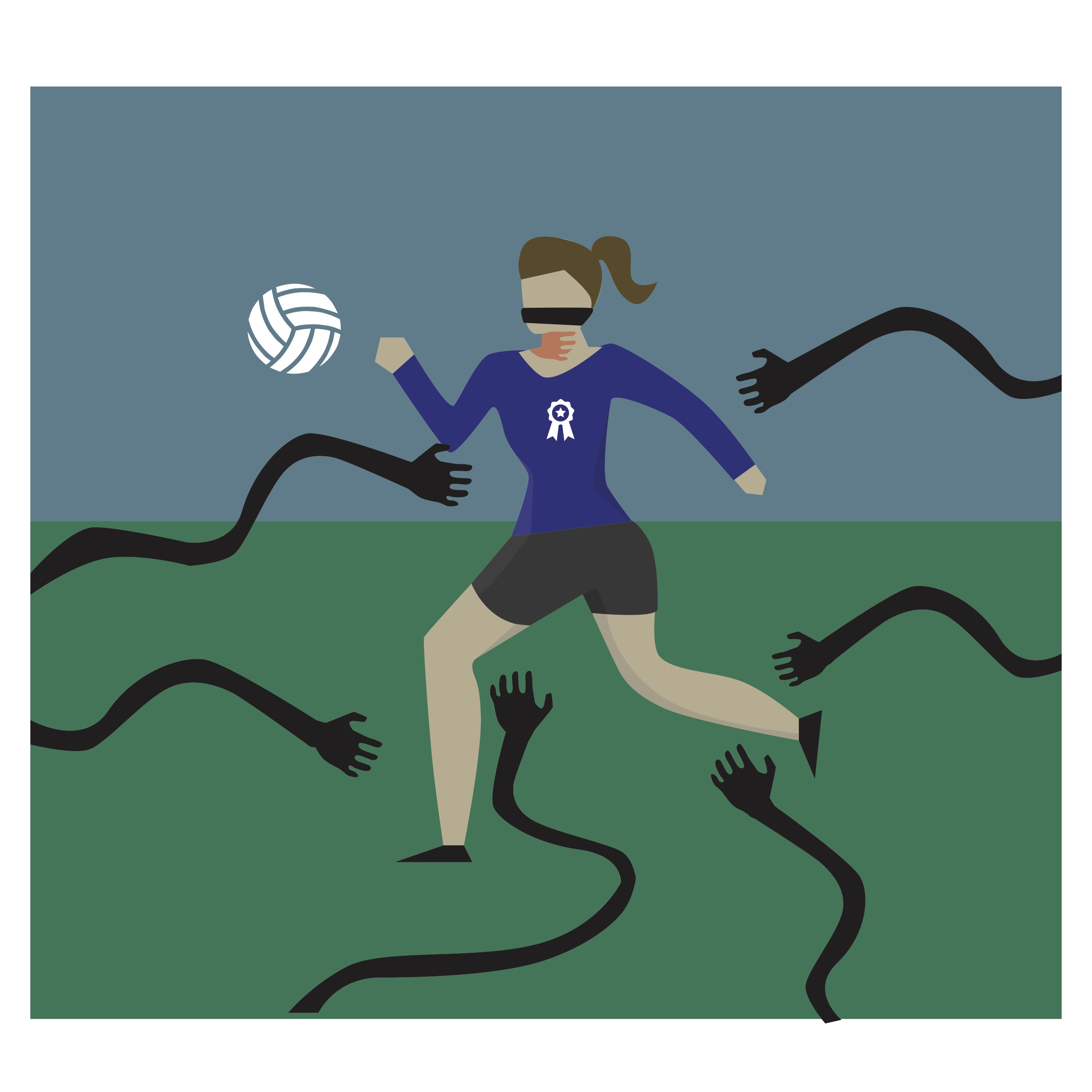 Drawing of female athlete with creepy arms reaching out for her.