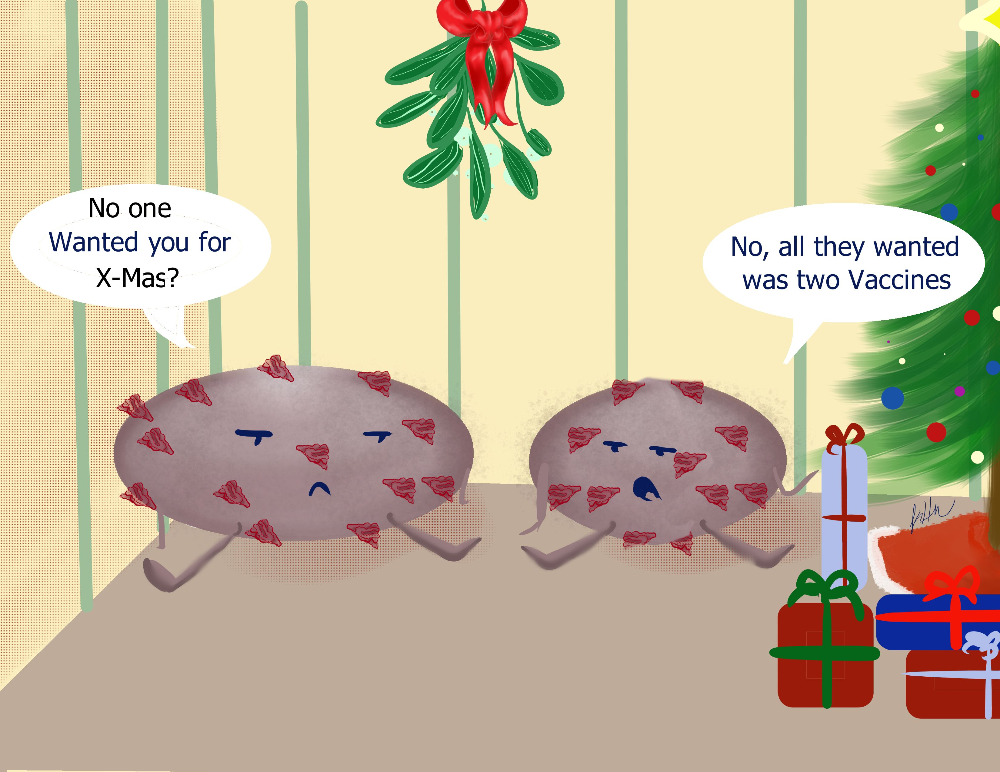 Comic showing two coronavirus sad no one wants to give them as gifts this Xmas.