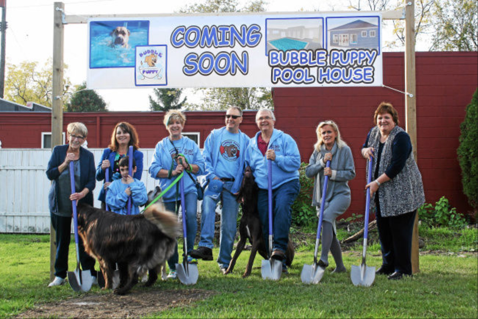 U.S. Rep. Debbie Dingell (D-12th District), second from right, and Trenton Mayor Kyle Stack (far right) were on hand for the ceremonial groundbreaking of the Bubble Puppy Pool House in downtown Trenton, Nov. 1, 2016.  Photo credit: Constance York for The News Herald