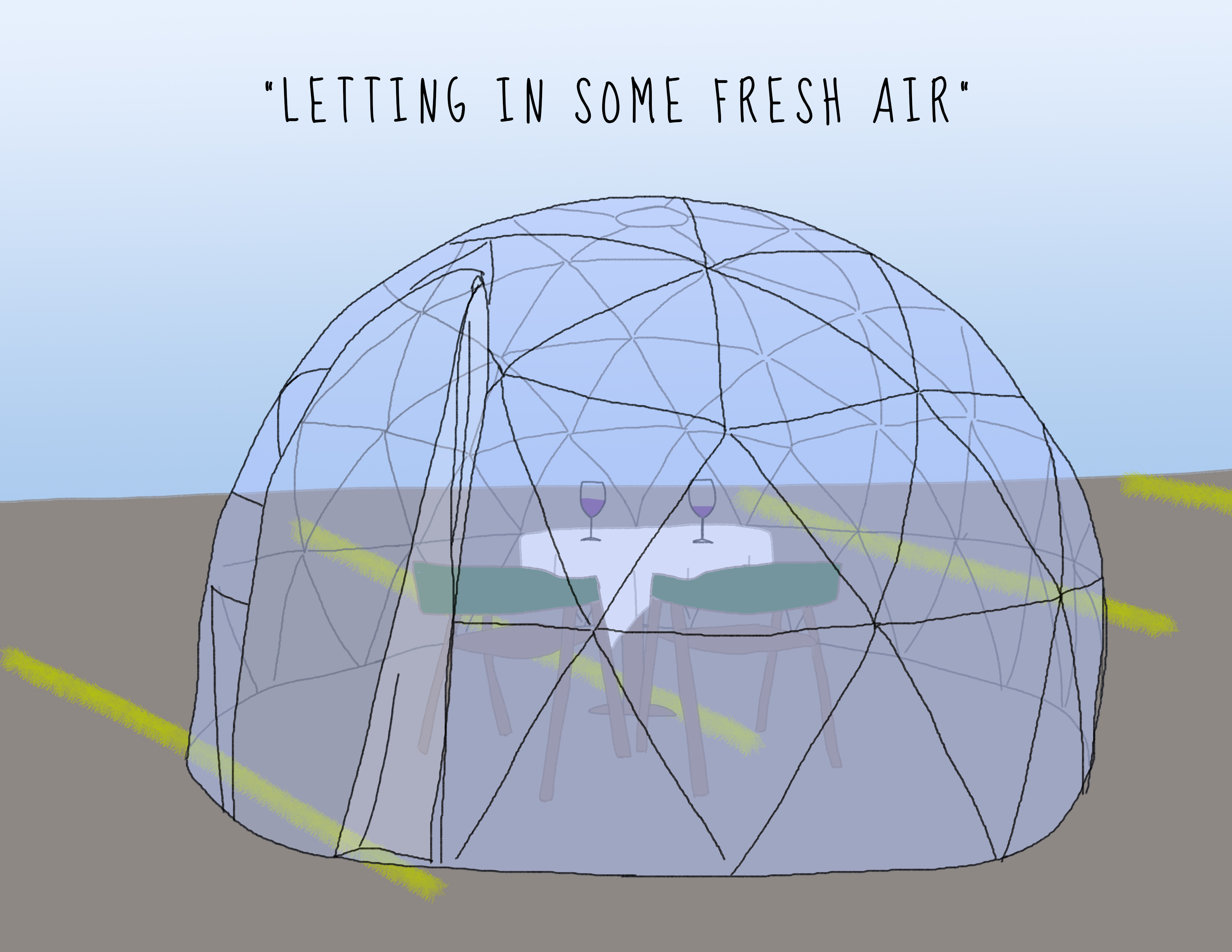 Drawing of outdoor see through igloo with table and chairs inside