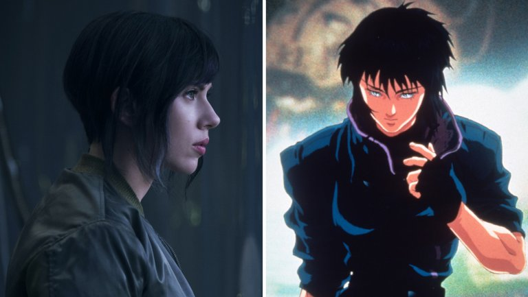 Image comparing the live-action version of Ghost in the Shell against the anime version