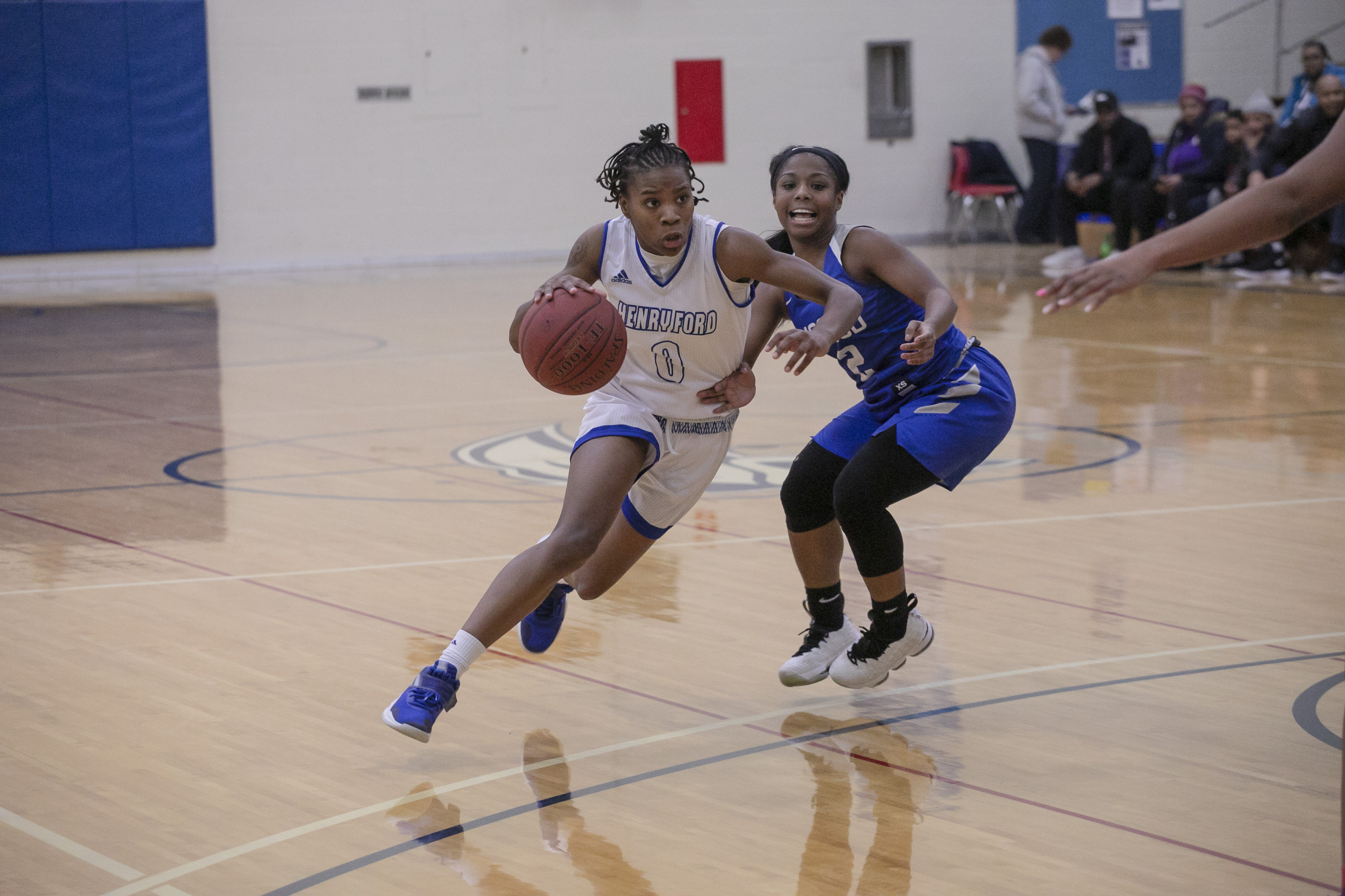 Guard Mariah Mitchell gets around WCCD Defender