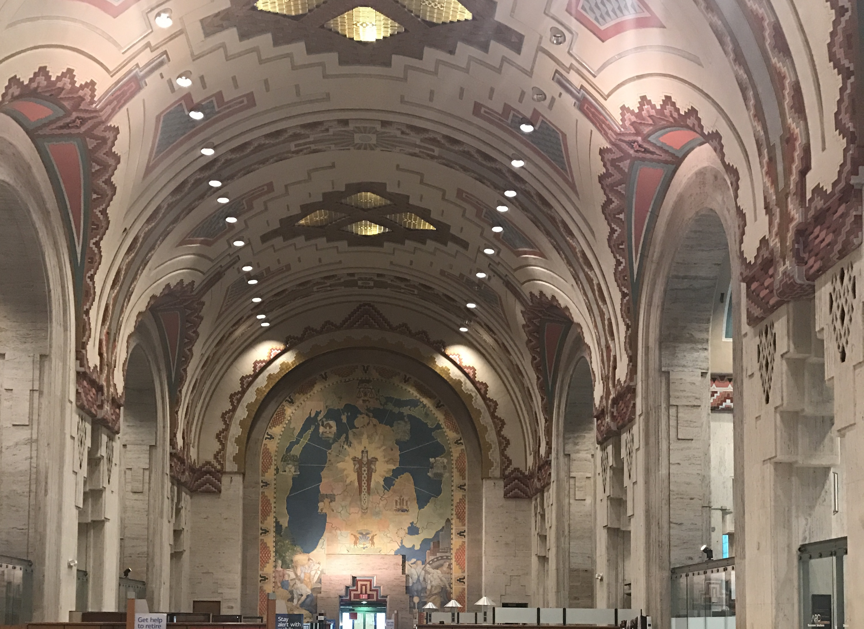 Interior of the Guardian Building in Detroit with Aztec designs on vaulted ceilings.