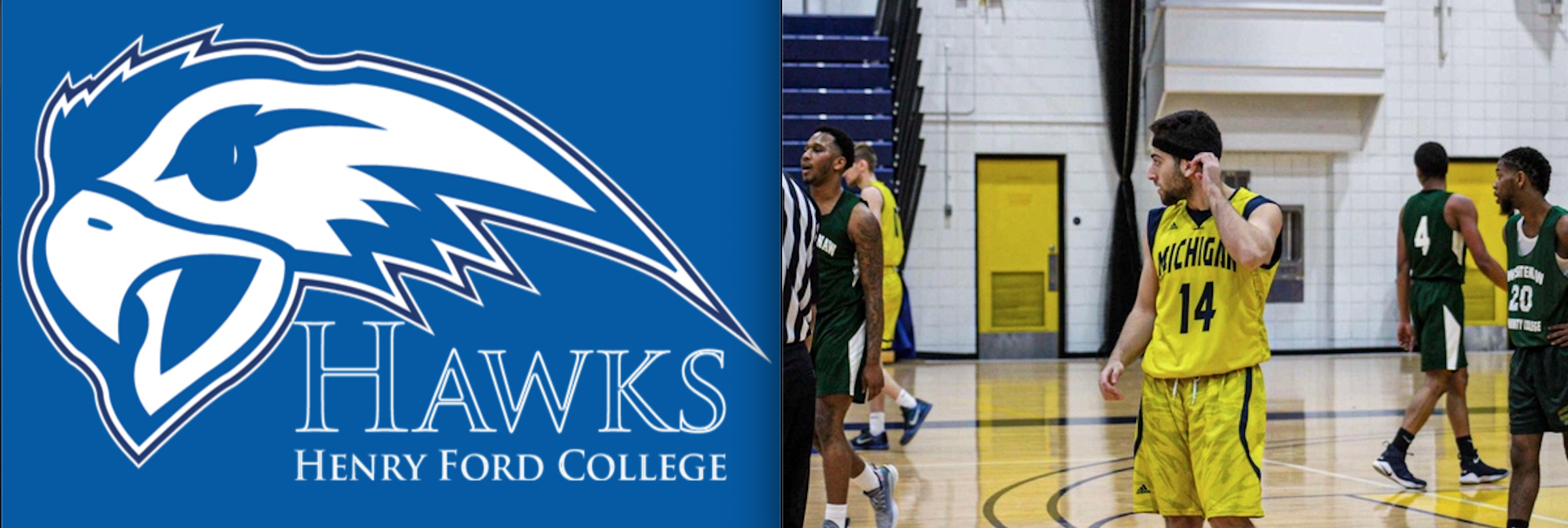 Hawks Athletics logo next to photo of UM-Dearborn basketball player, Mohamed Wahidi