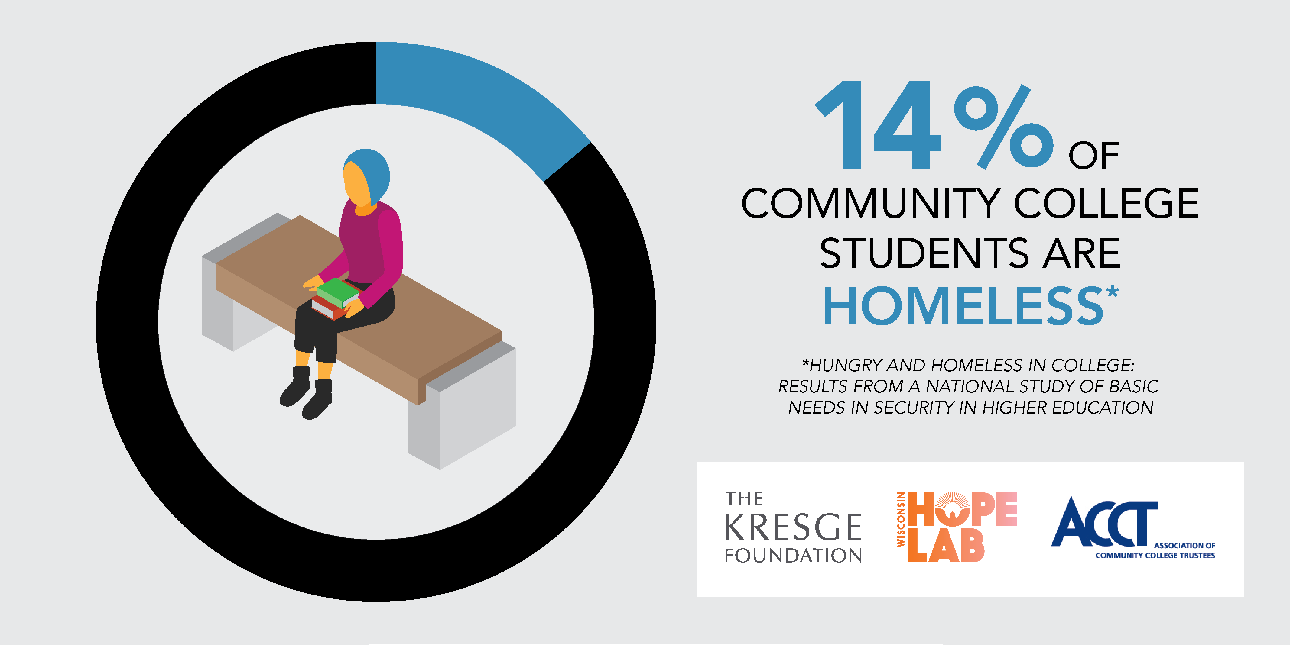 Inforgraphic shows that 14% of community college students are homeless
