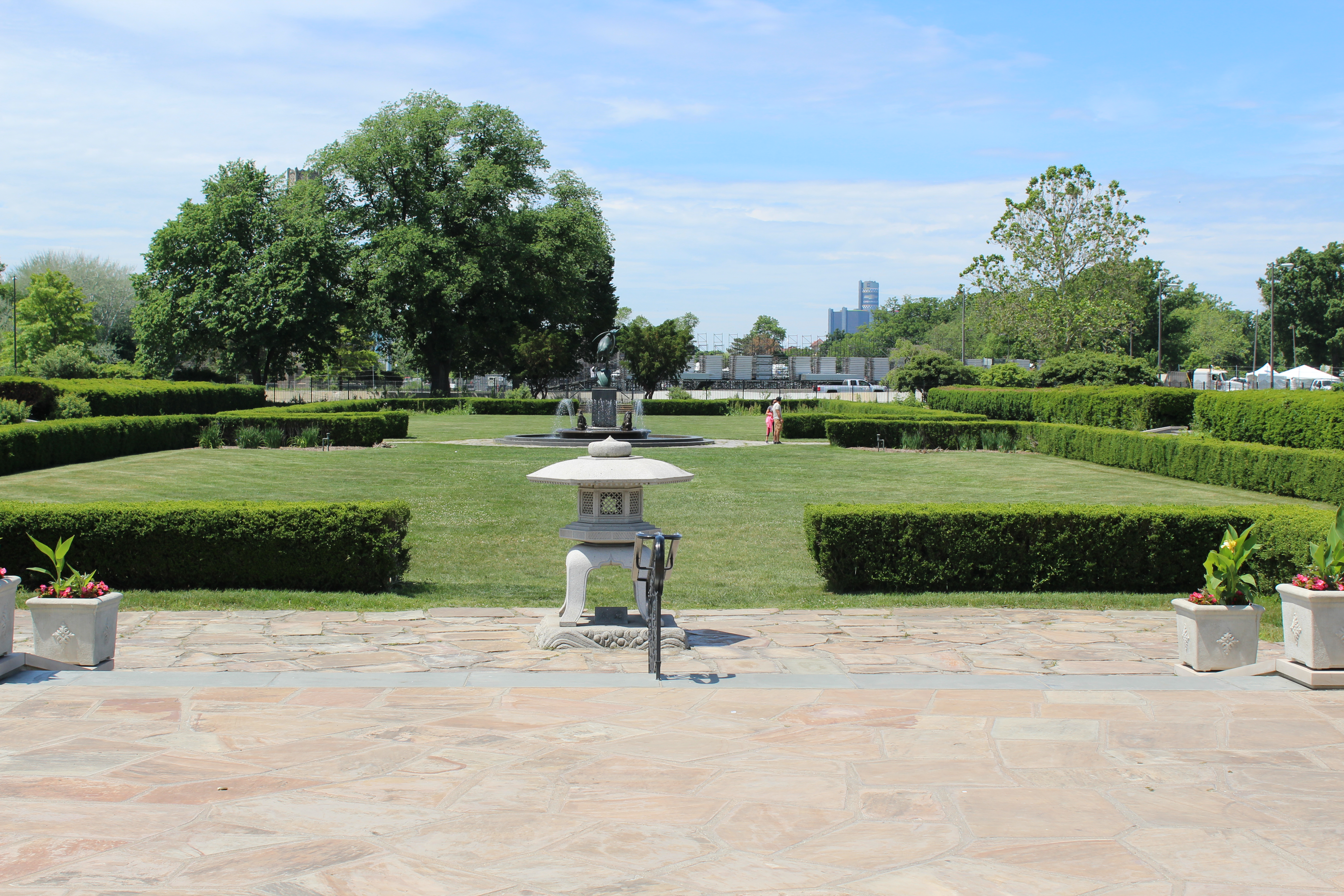 Outside garden at Belle Isle Conservatory looking toward downtown Detroit