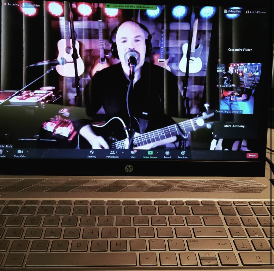 John Rush, the Human iPod, performing requested songs during a live virtual show for HFC's  Welcome Back Days