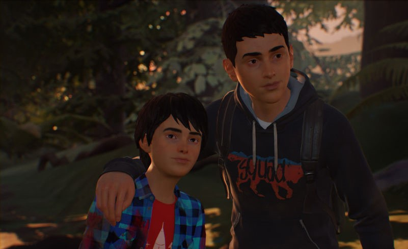 "Still of main characters Sean and Daniel Diaz from video game ""Life is Strange 2"""