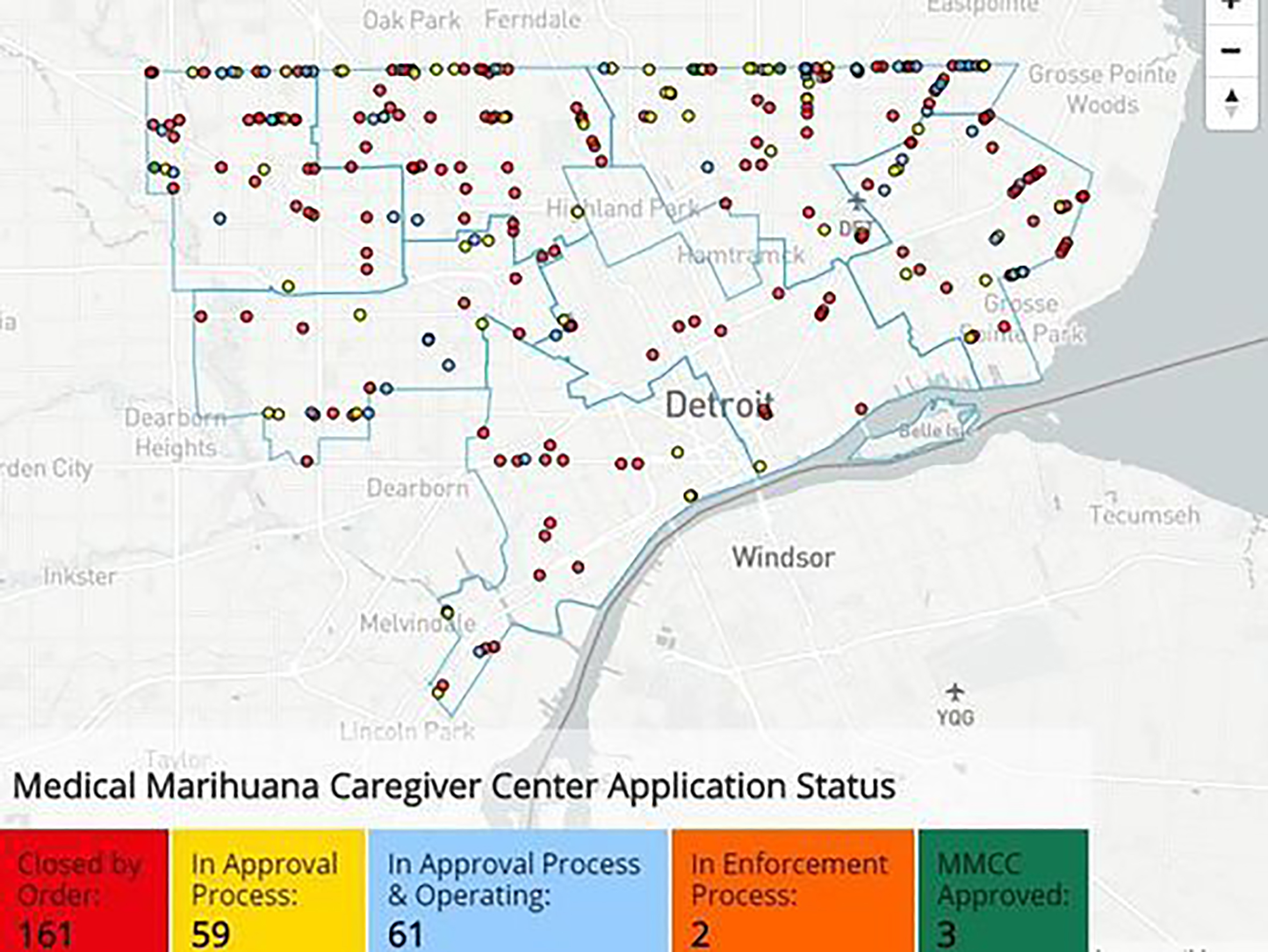 Map of the medical Marijuana Caregiver Center Application Status