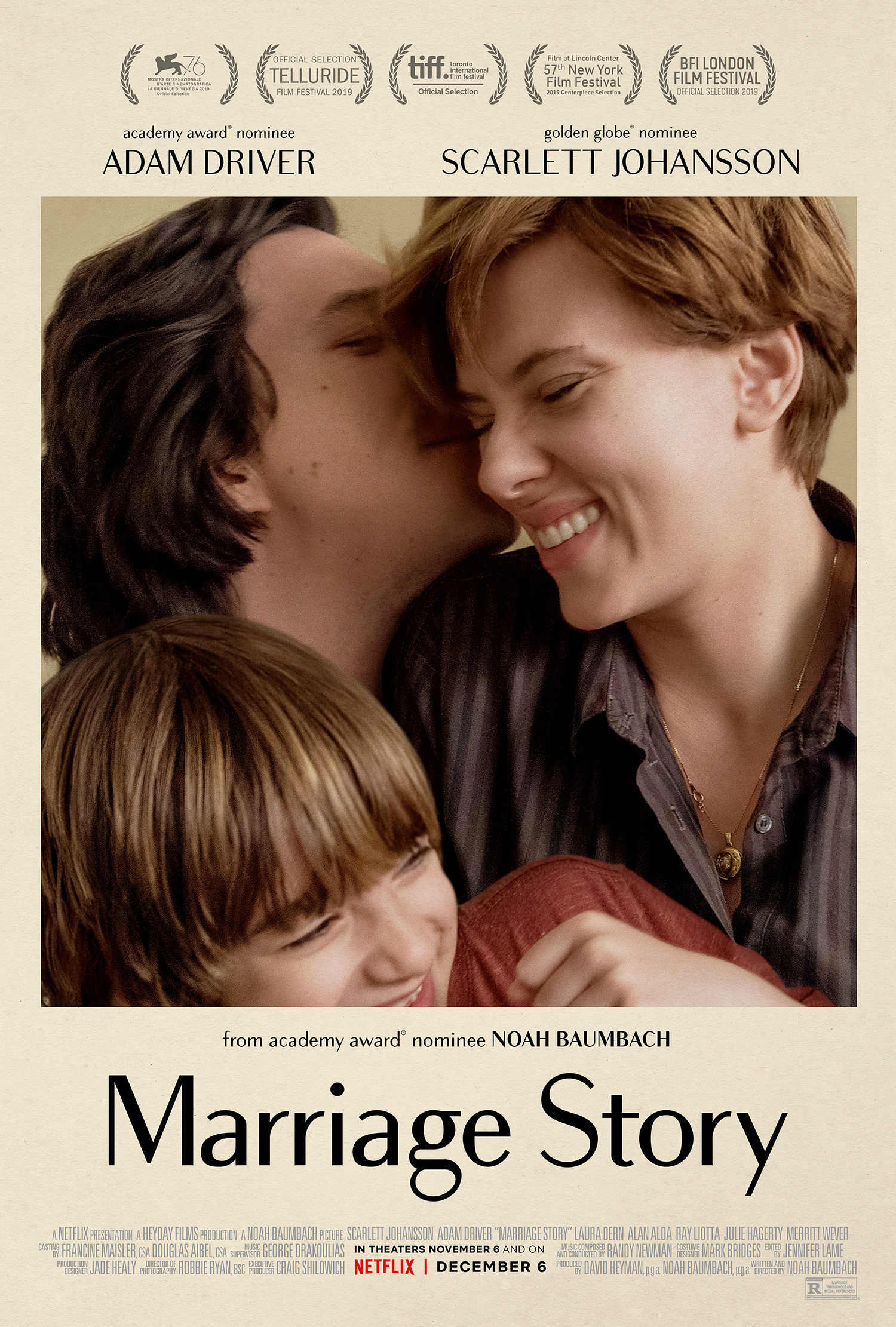 "Promotional poster for film ""Marriage Story,"" showing the three main characters of the film embracing"