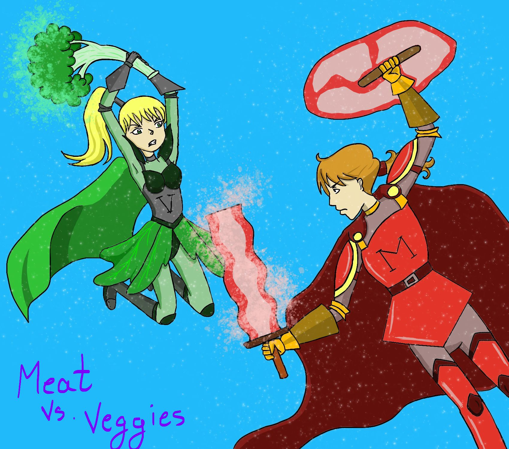 Comic of female dressed in green superhero outfit wielding a broccoli club at a male dressed in red superhero cape with bacon sword and ham shield.