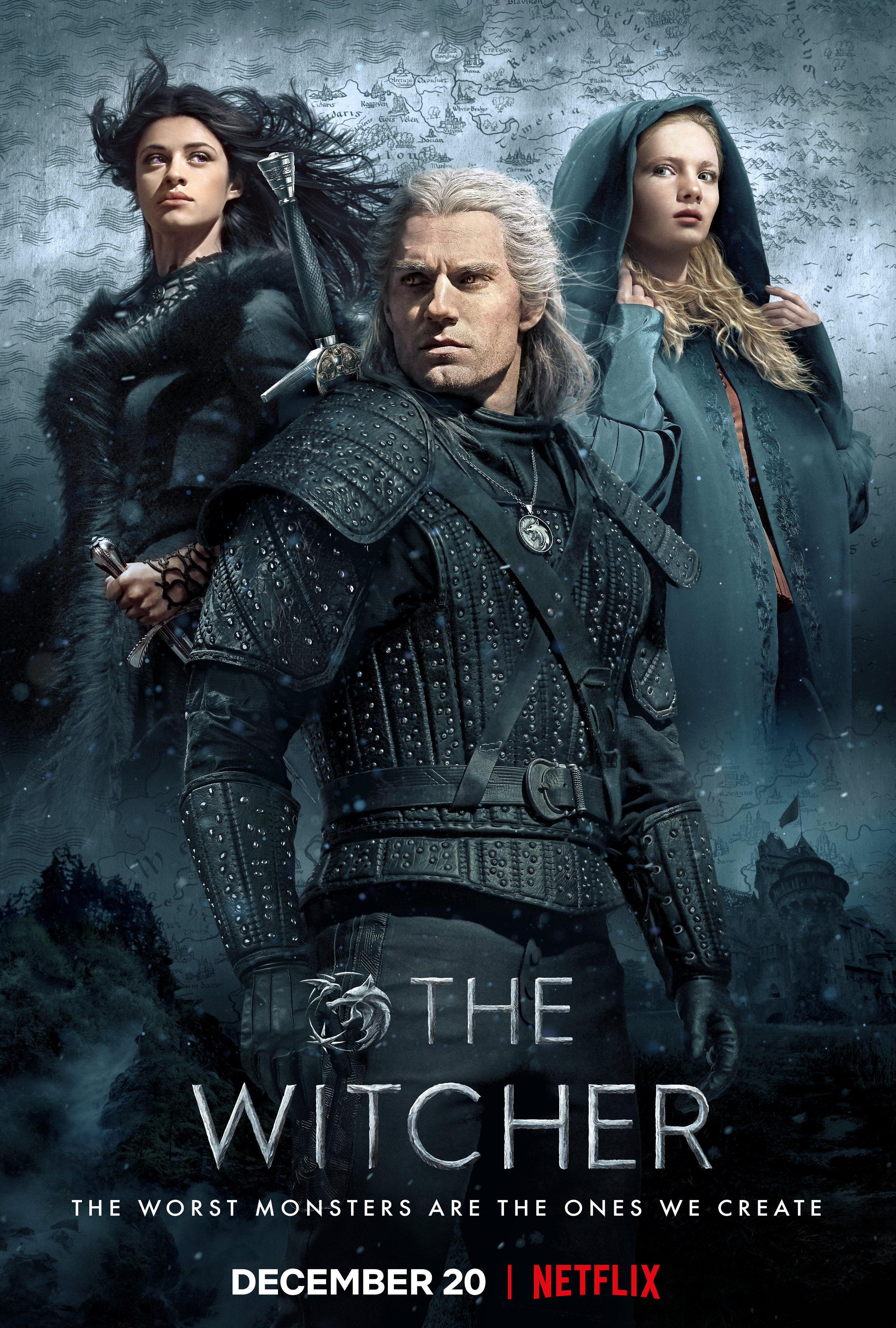 "Image of Netflix promotional poster for ""The Witcher"" showcasing the three main character, Yennefer, Geralt and Cirilla"
