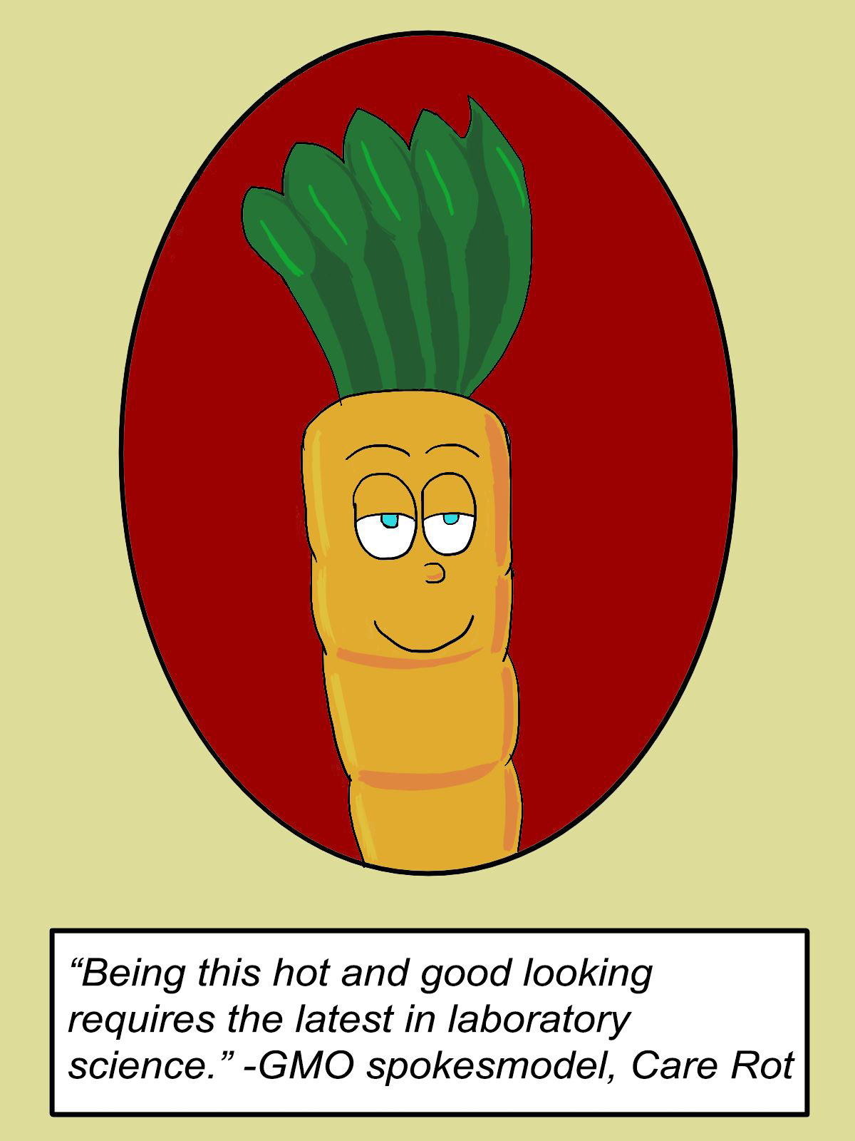 Comic of GMO carrot saying his good looks are thanks to laboratory science.
